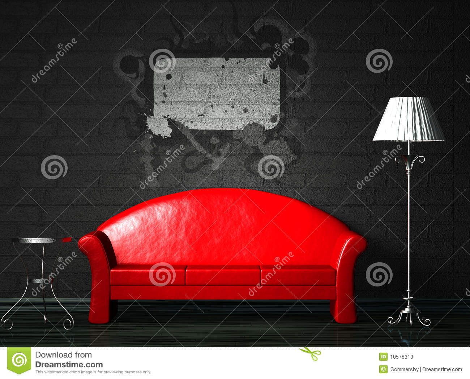 Rote Couch Mit Spritzen Stock Abbildung Illustration Von Luxus