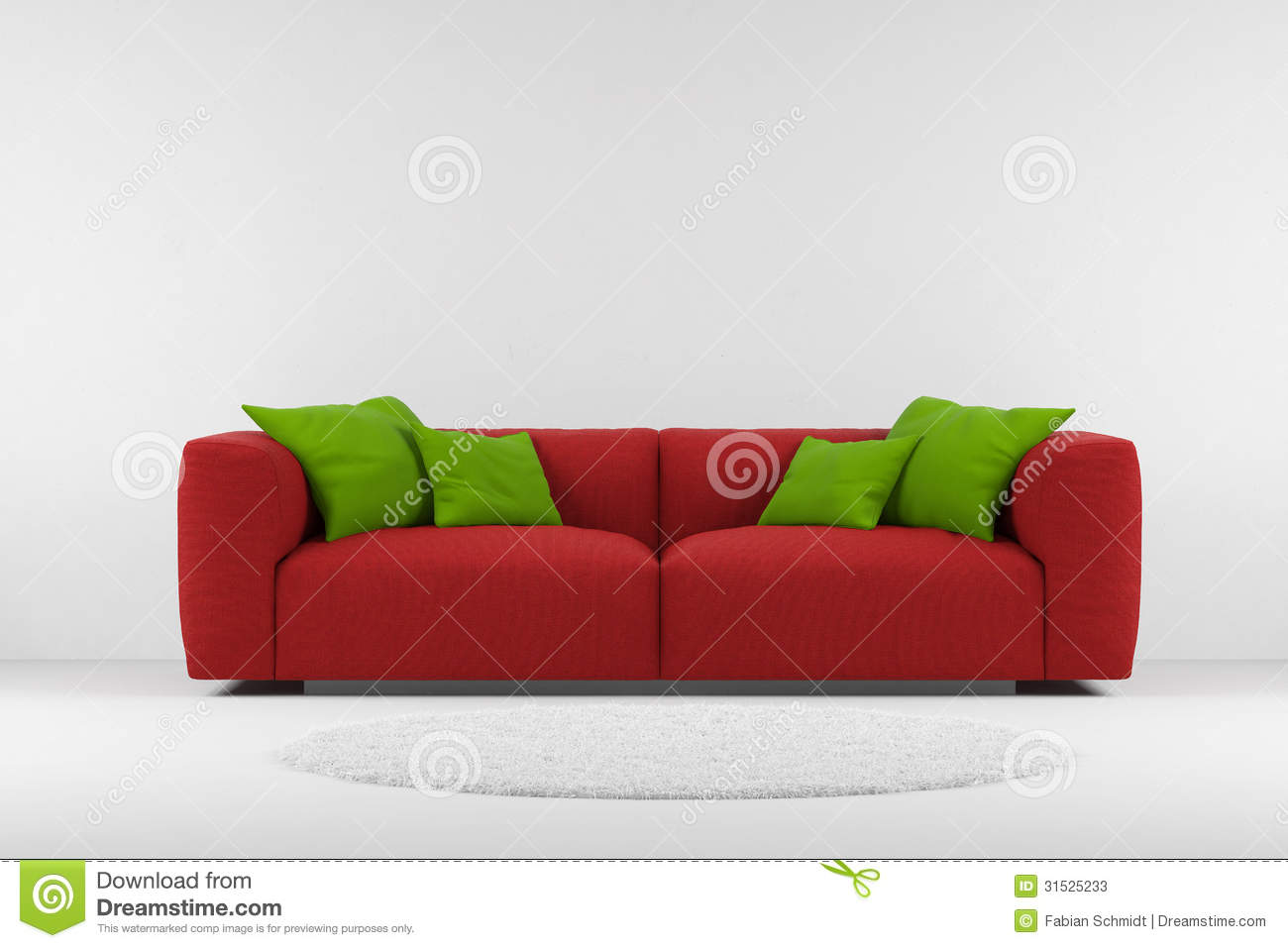 rote couch mit teppich stockfotos bild 31525233. Black Bedroom Furniture Sets. Home Design Ideas