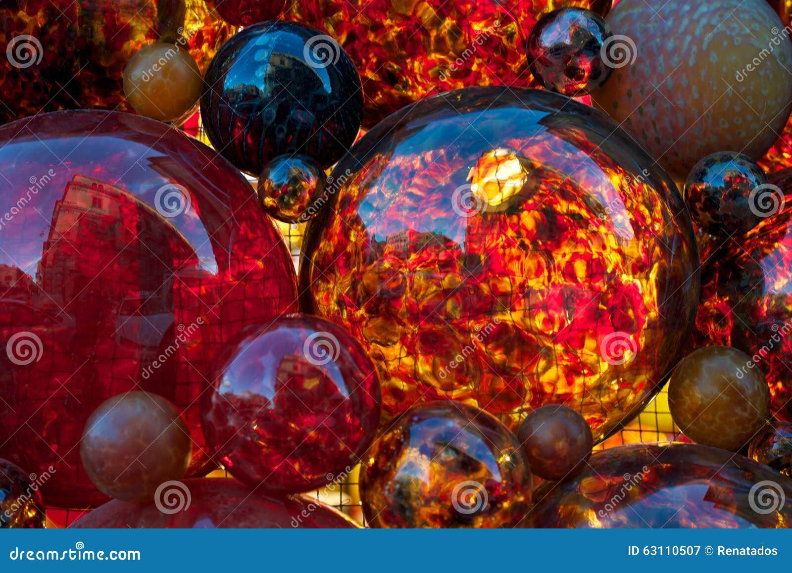 Rote Dekoration, Rotes Glas, Weihnachtsdekor, Rote Glasblasen ...