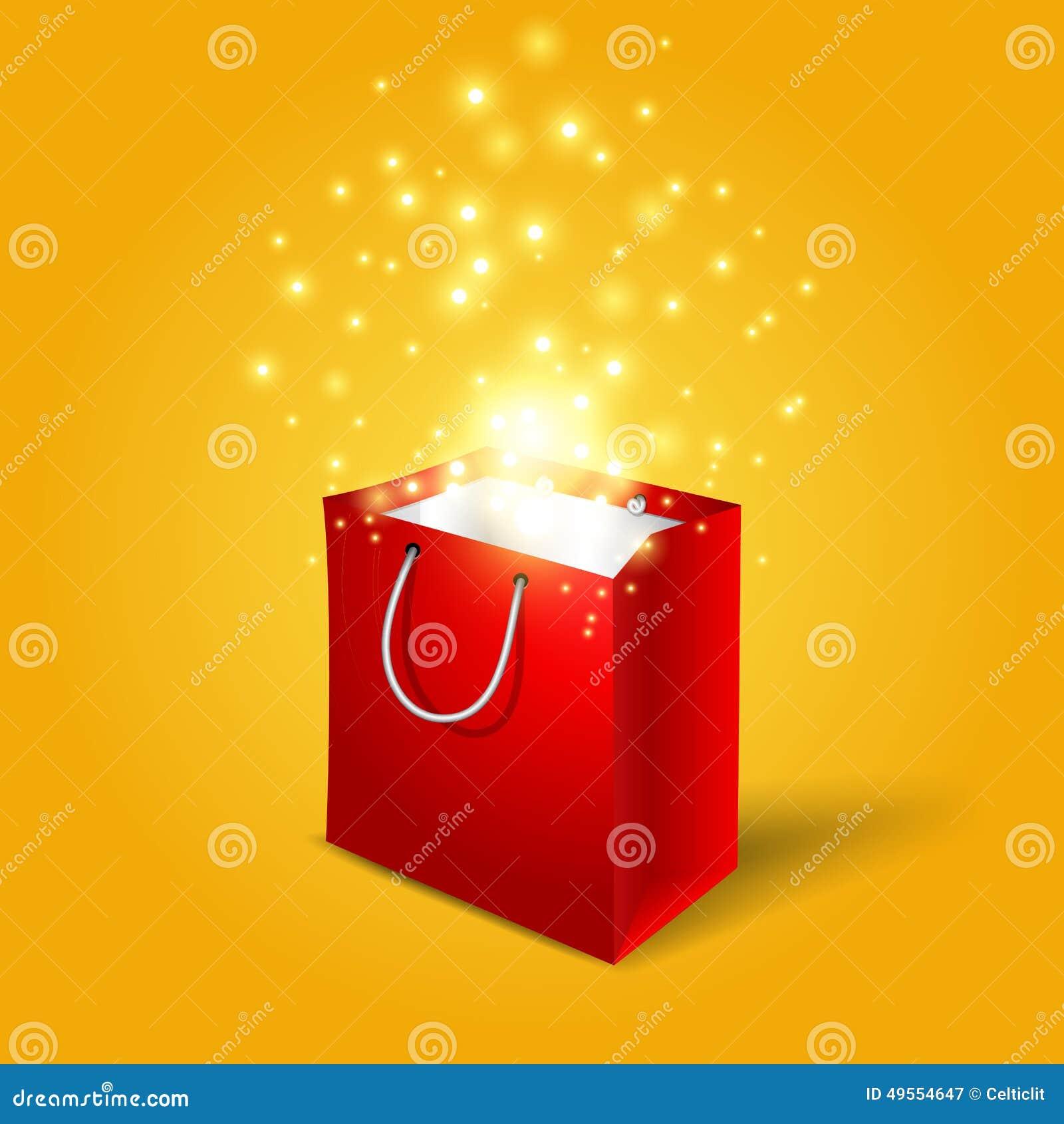 Rote Einkaufstasche mit magischen hellen Feuerwerken von
