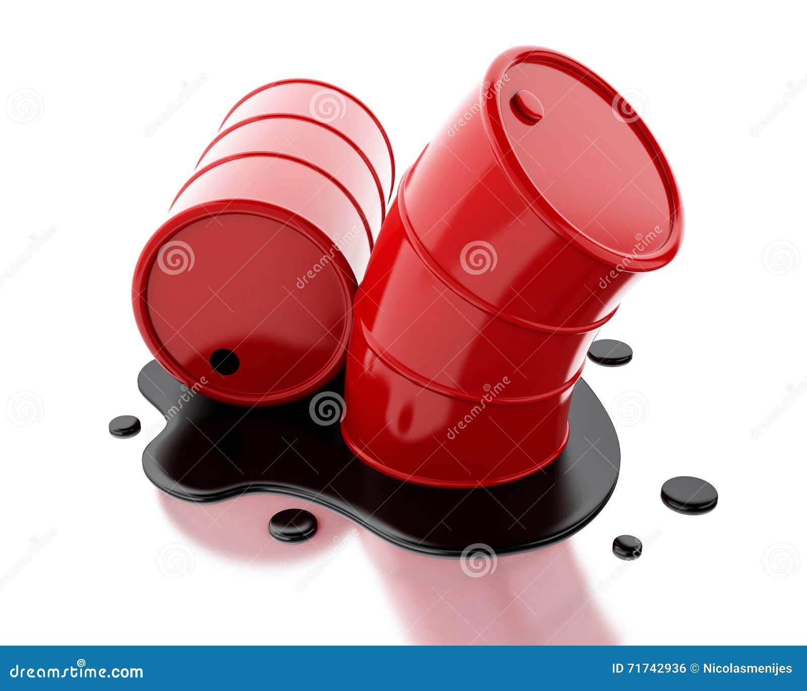 Rote Fässer 3d zwei mit dem Öl verschüttet