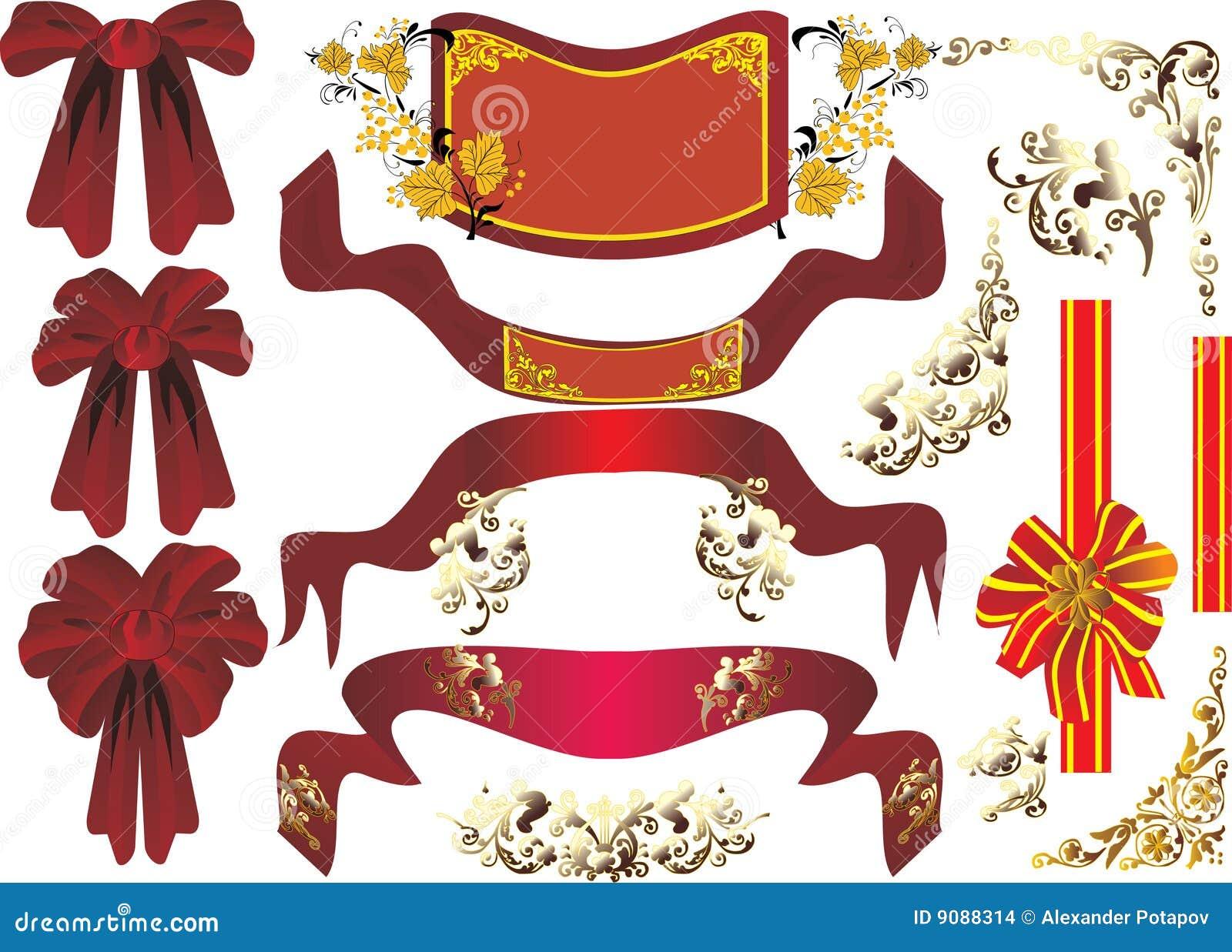 Rote Farbbänder auf Weiß