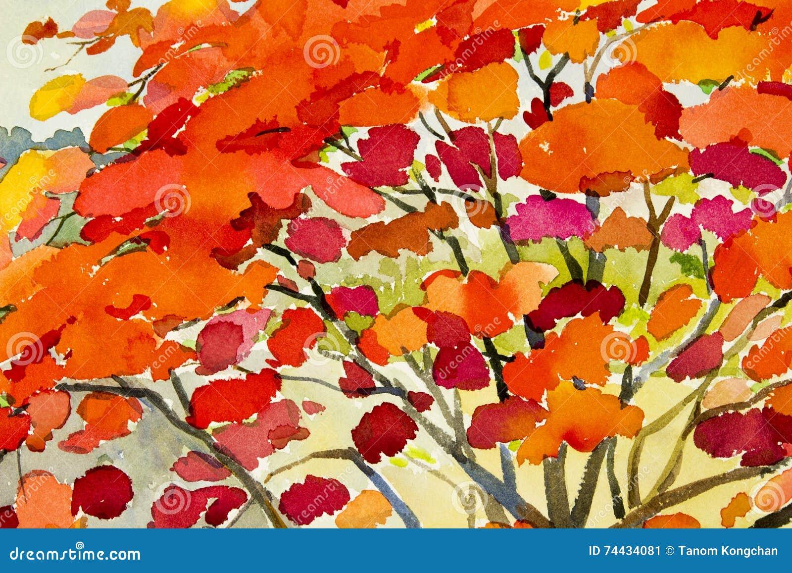 Rote Farbe der abstrakten Aquarelllandschaftsursprünglichen Malerei von Pfaublumen