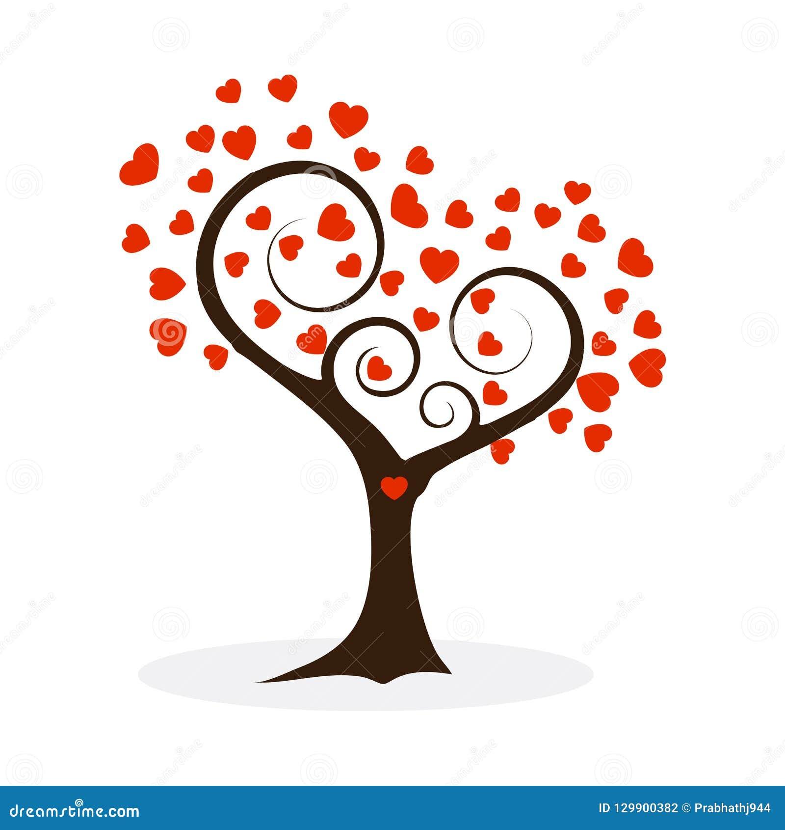 Rote Farbillustration des Liebesbaums lokalisiert auf Weiß