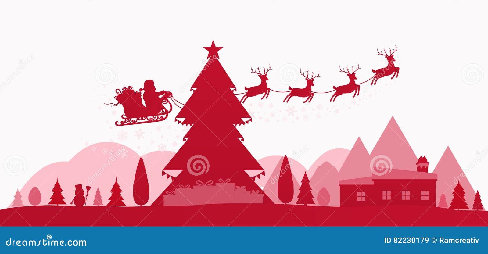 Rote Feiertagslandschaft des Winters mit Weihnachtsbäumen