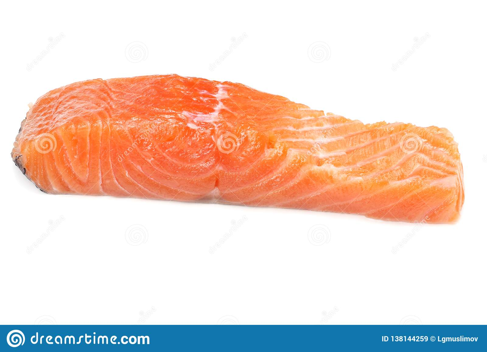 Rote Fische Rohes Lachsfiletisolat auf weißem Hintergrund