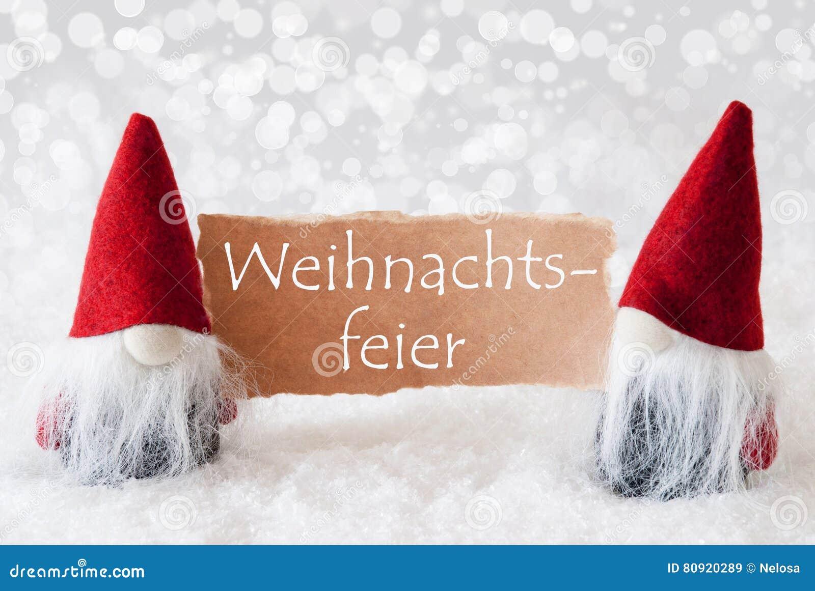 Rote Gnomen Mit Karte, Weihnachtsfeier Bedeutet Weihnachtsfest ...