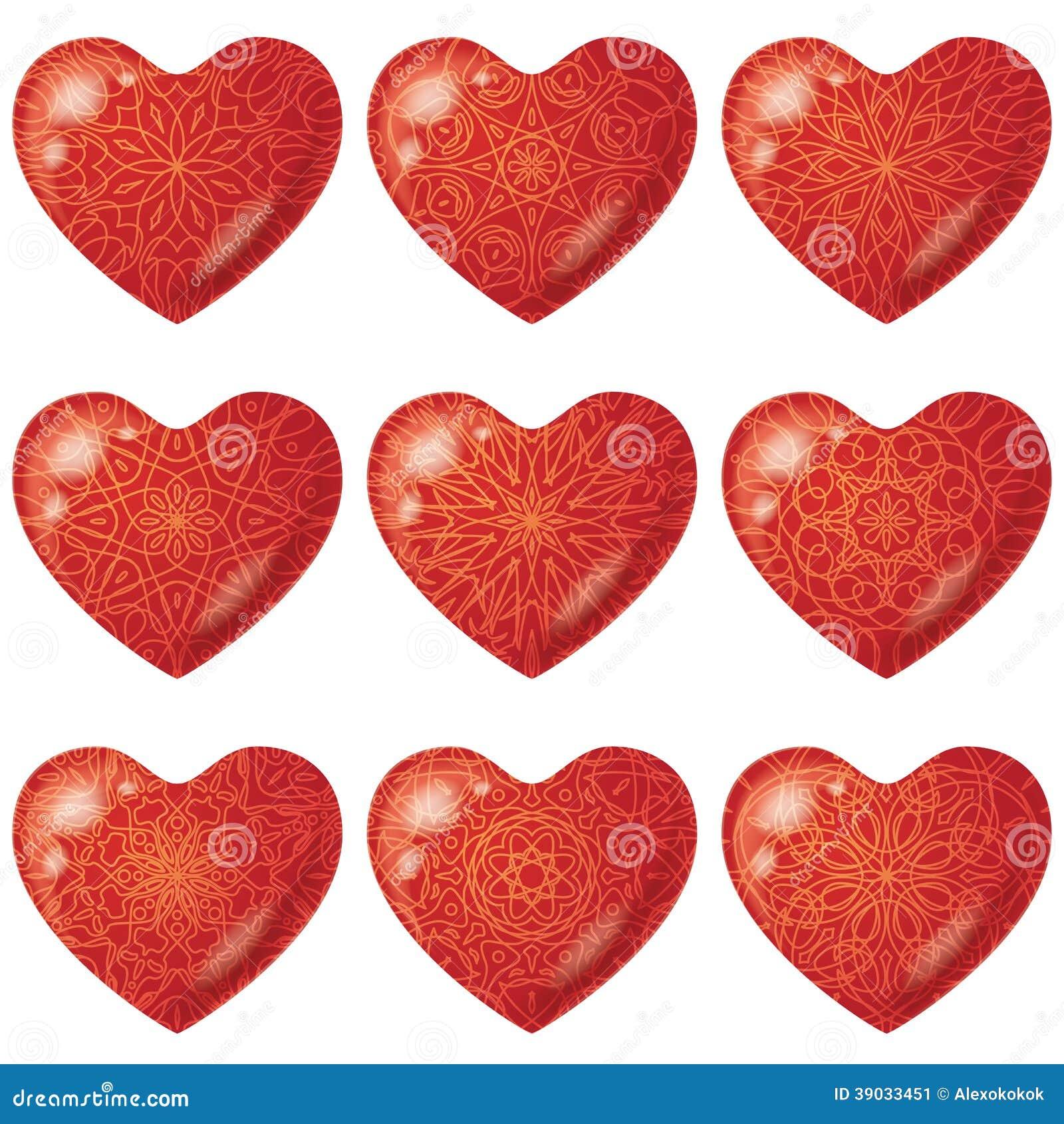 rote herzen des valentinsgru es mit muster satz vektor abbildung bild 39033451. Black Bedroom Furniture Sets. Home Design Ideas