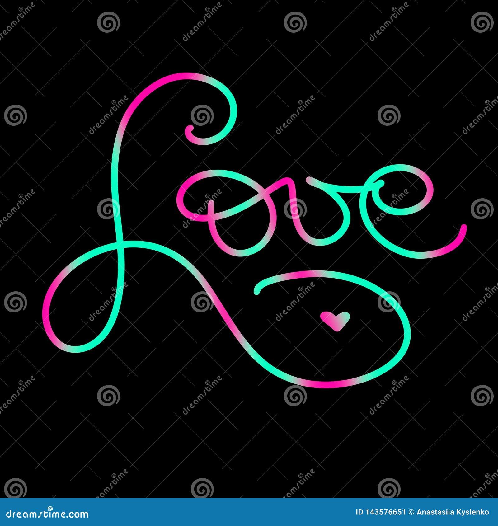 Rote Innere Hand geschrieben, Zeichenliebe mit wenig Herzen beschriftend Grüne und rosa Farbneonkarte in der Schlangenart Zitatmi