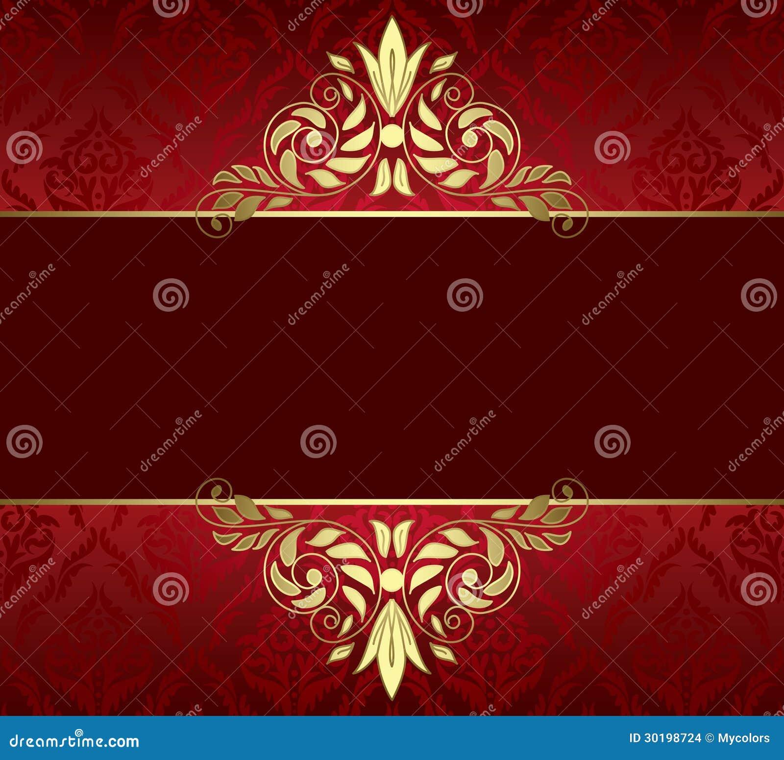 rote karte mit goldtracery und muster vektor abbildung illustration von dekor steigung 30198724. Black Bedroom Furniture Sets. Home Design Ideas
