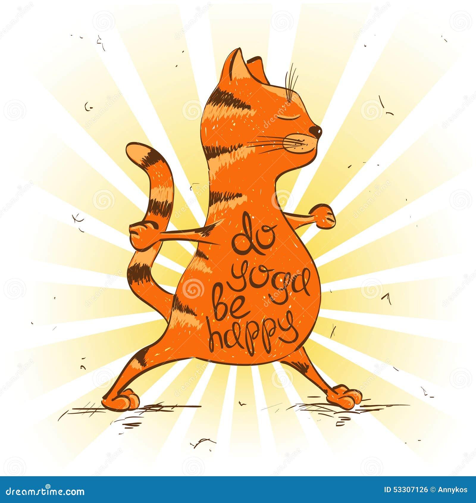 Rote Katze Der Karikatur, Die Kriegersposition Von Yoga Tut Vektor ...