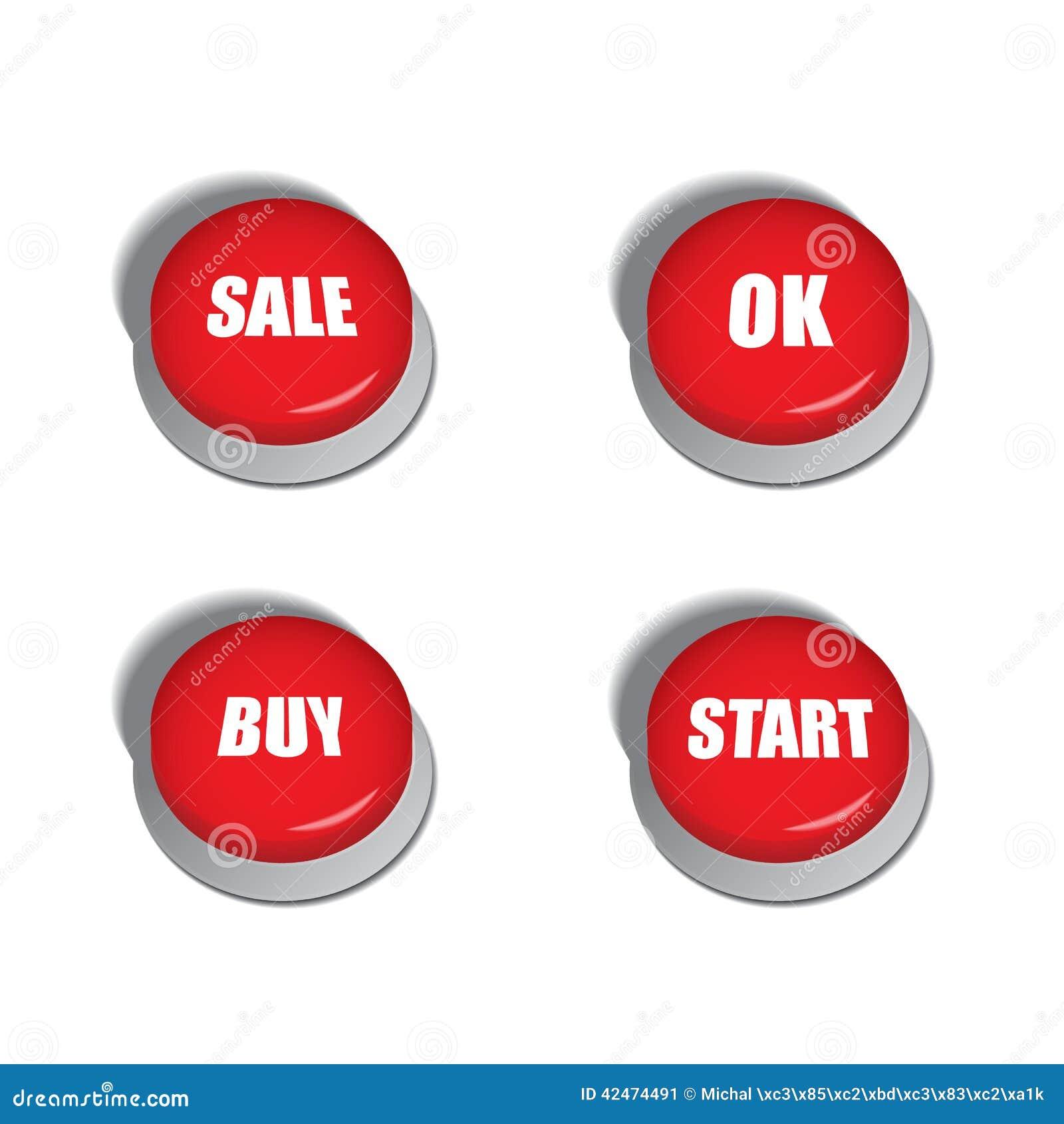 Rote Knöpfe mit verschiedenen Befehlen wie Verkauf, Kauf oder Anfang