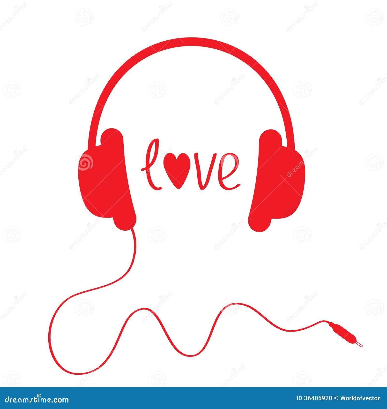 Rote Kopfhörer Mit Schnur. Lokalisiert. Liebeskarte. Vektor ...