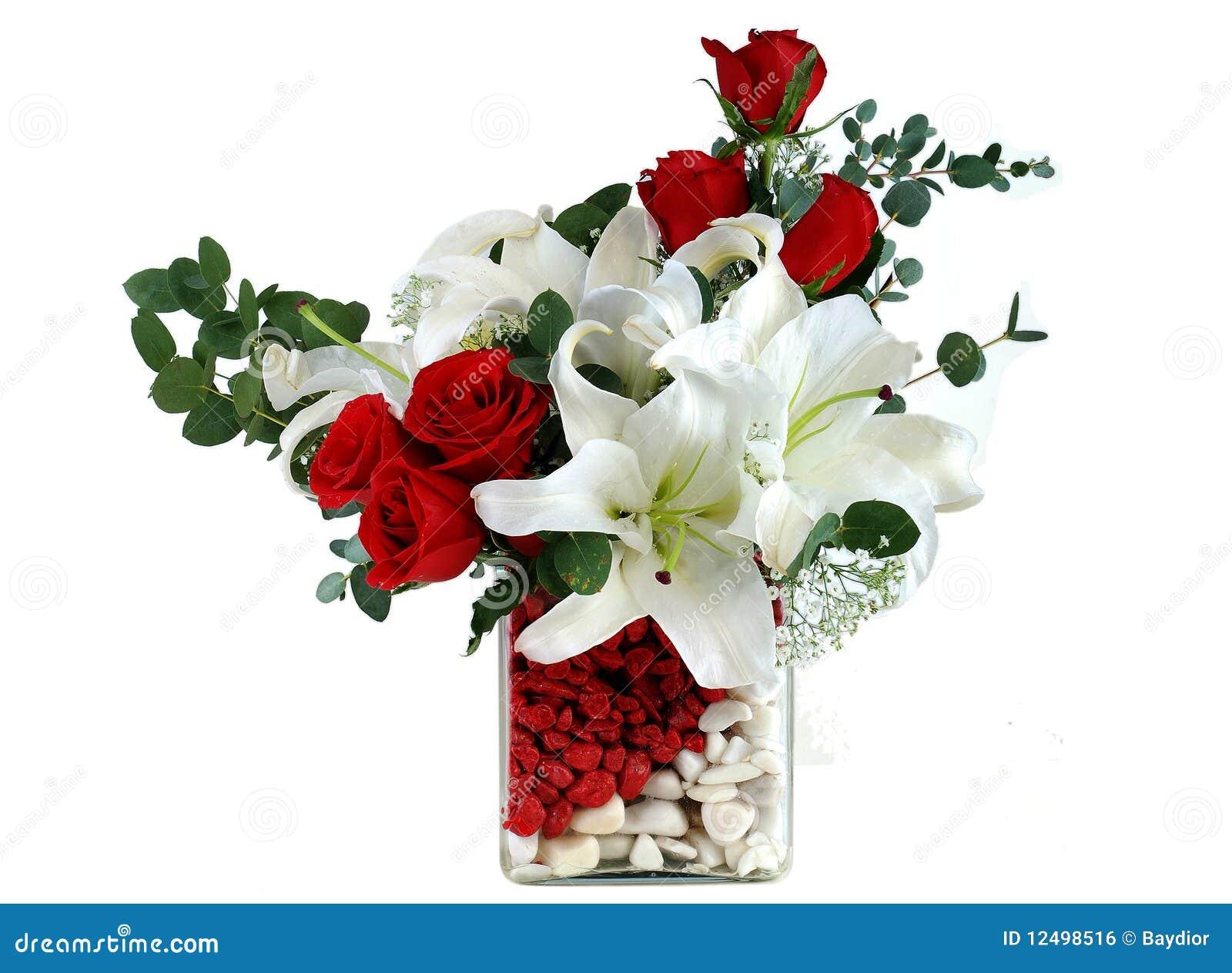rote rose und lilie lizenzfreies stockbild bild 12498516. Black Bedroom Furniture Sets. Home Design Ideas