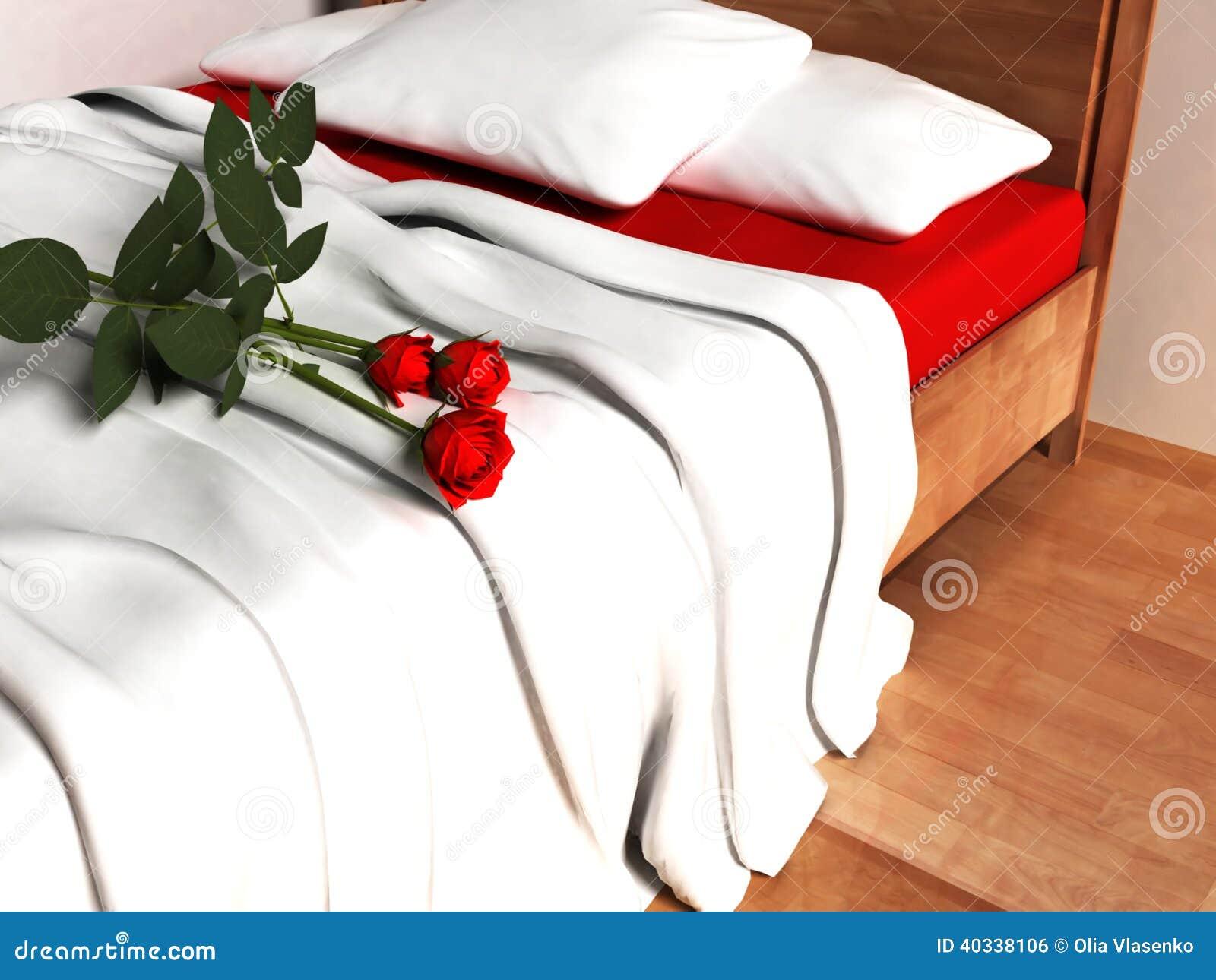 Rote Rosen auf dem Bett
