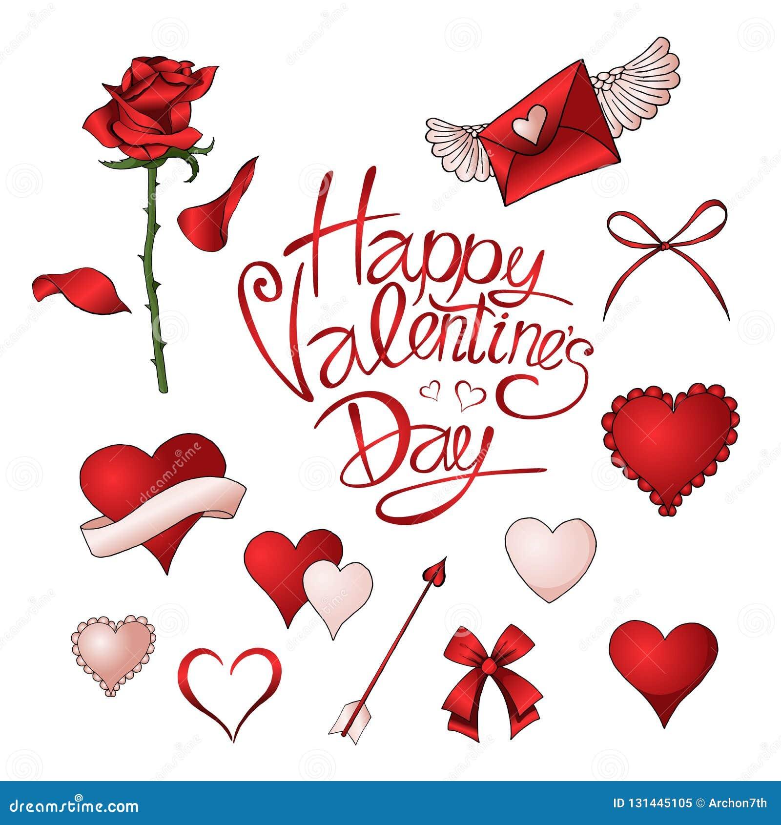 Rote Rosen, Herzen und andere Elemente übergeben gezogenen Farbsatz