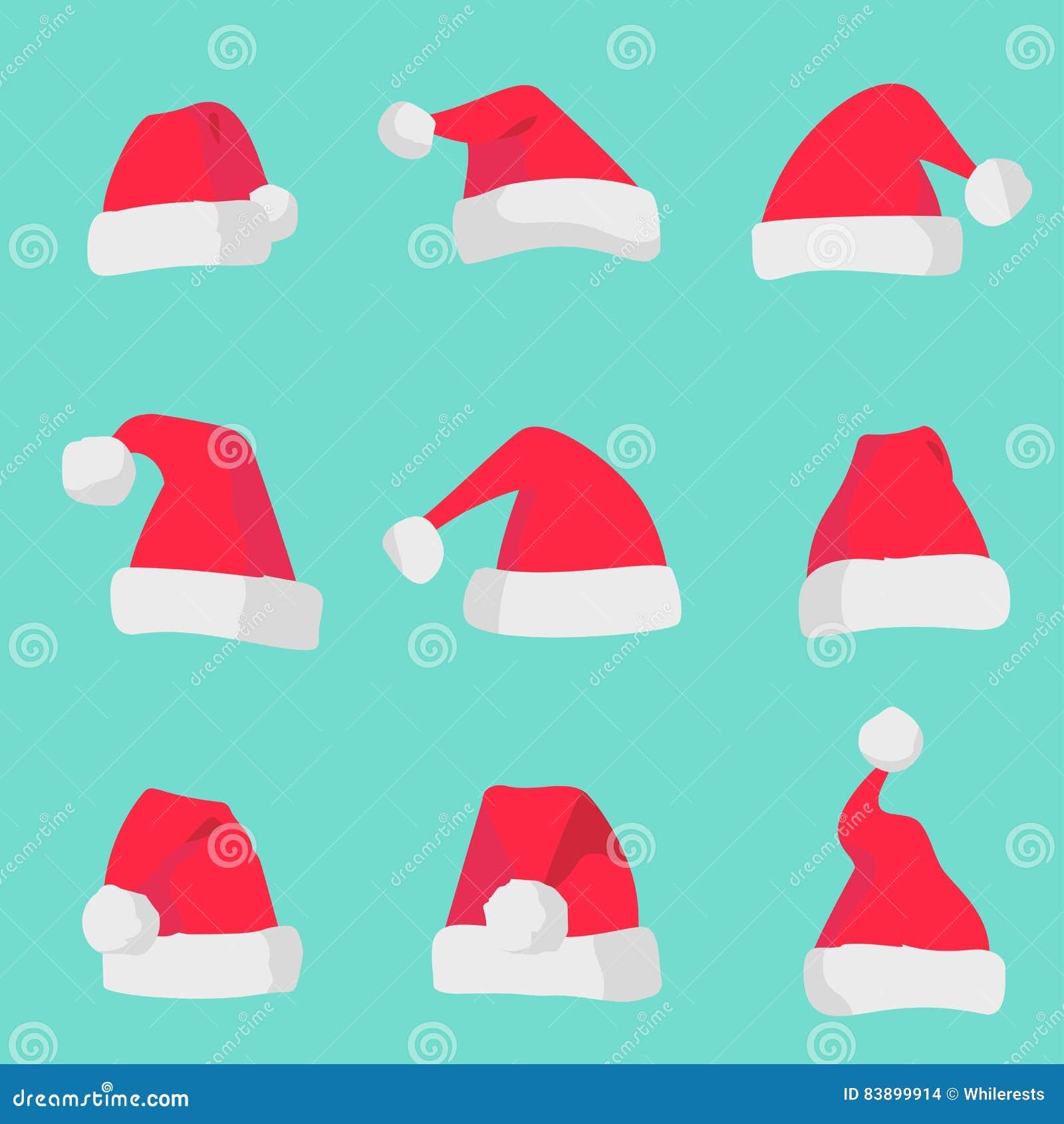 Rote Santa Claus-Hüte lokalisiert auf buntem Hintergrund Symbol des Weihnachtsfeiertagssankt-Hutsatzes