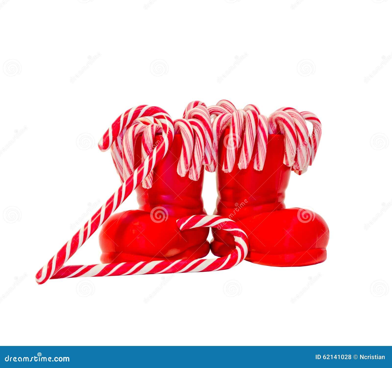 Rote Santa Claus-Stiefel Mit Farbigen Süßen Lutschern, Süßigkeiten ...