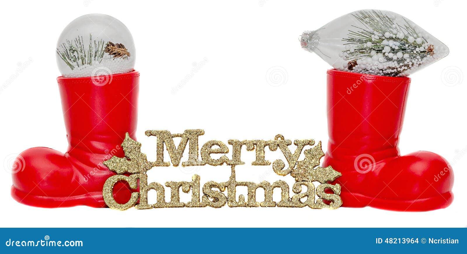 Rote Santa Claus-Stiefel, Schuhe Mit Frohen Weihnachten Schreiben ...