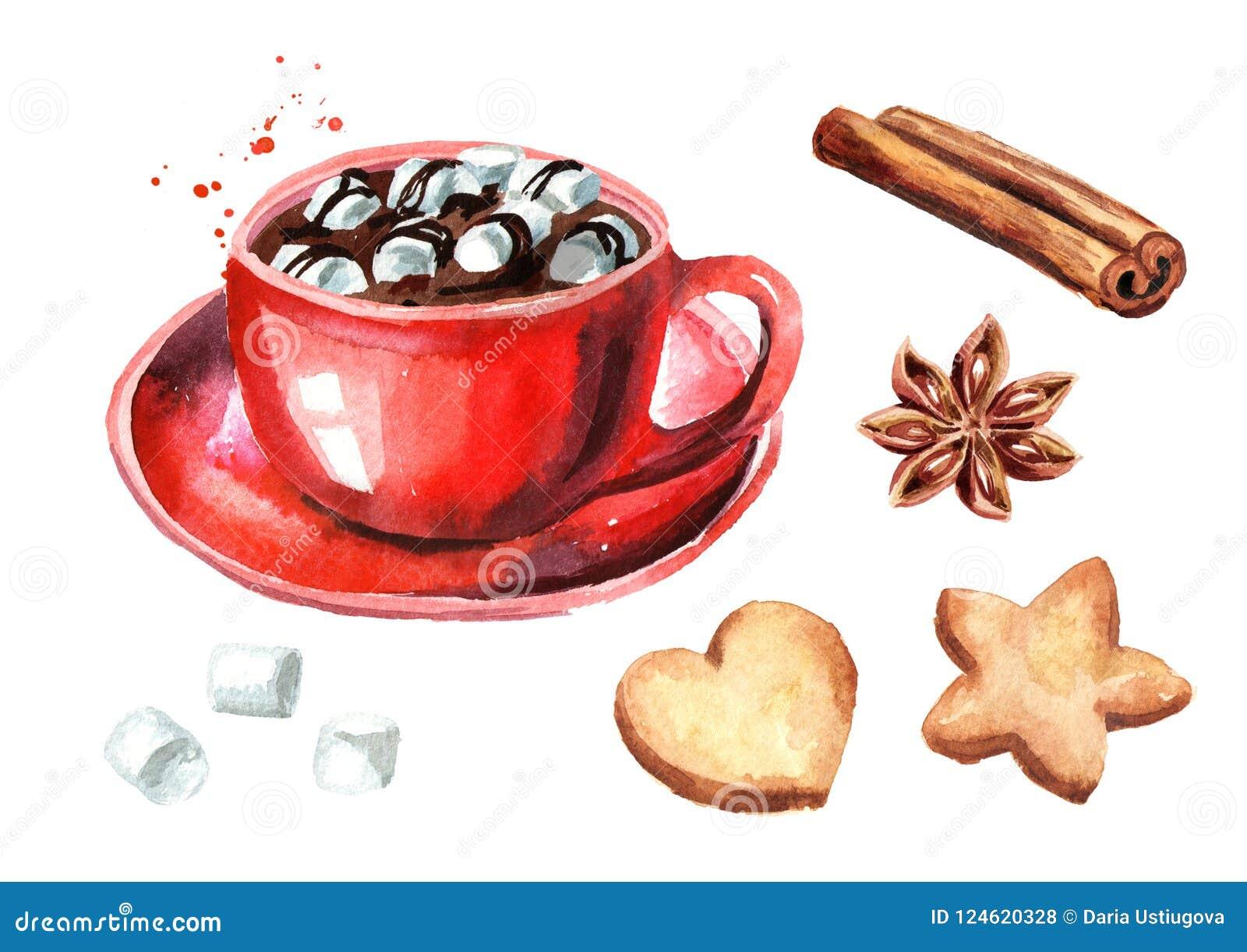 Rote Schale heiße Schokolade mit Eibisch, Zimtstange- und Sternanis und den Weihnachtsplätzchen eingestellt Aquarell Hand gezeich