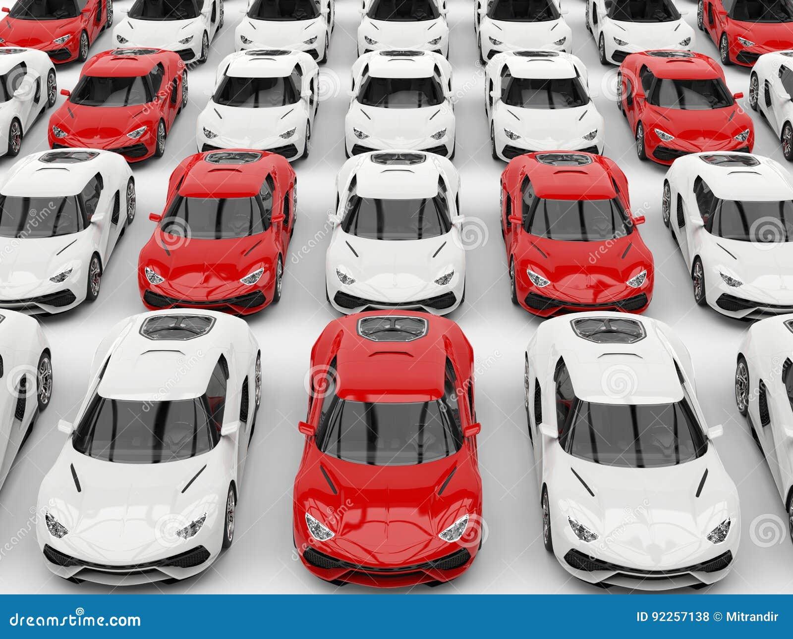 Rote Sportautos In Der Bildung Unter Weißen Autos Stock Abbildung ...