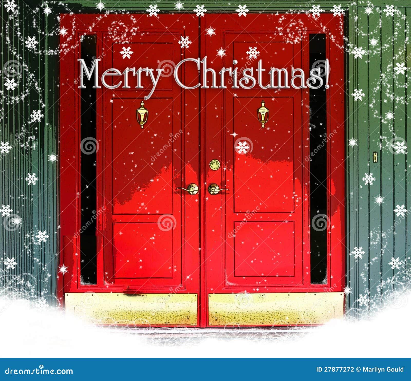 Rote Tür-frohe Weihnachten