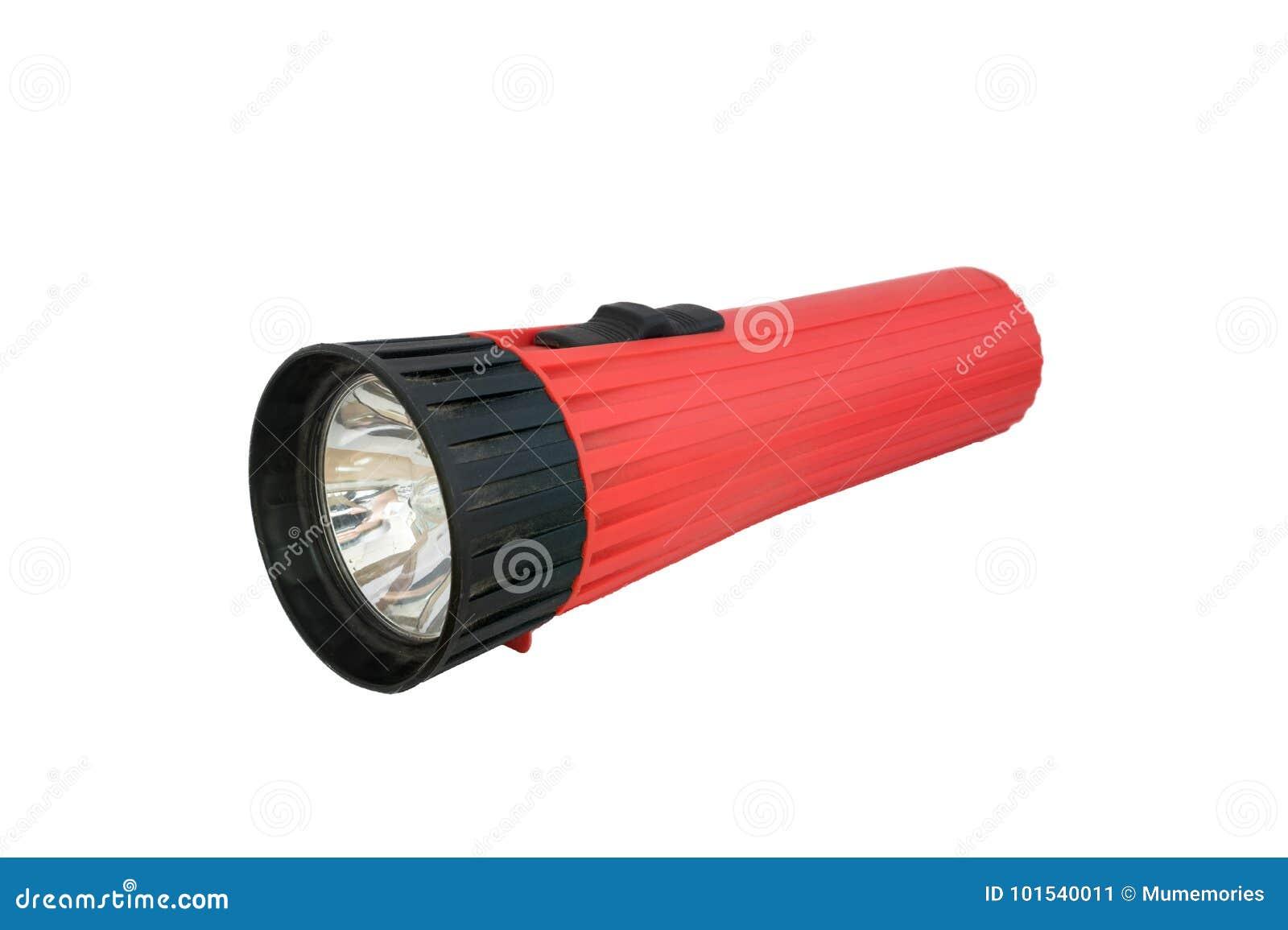 Rote Taschenlampe weg vom Legen auf weißen Hintergrund