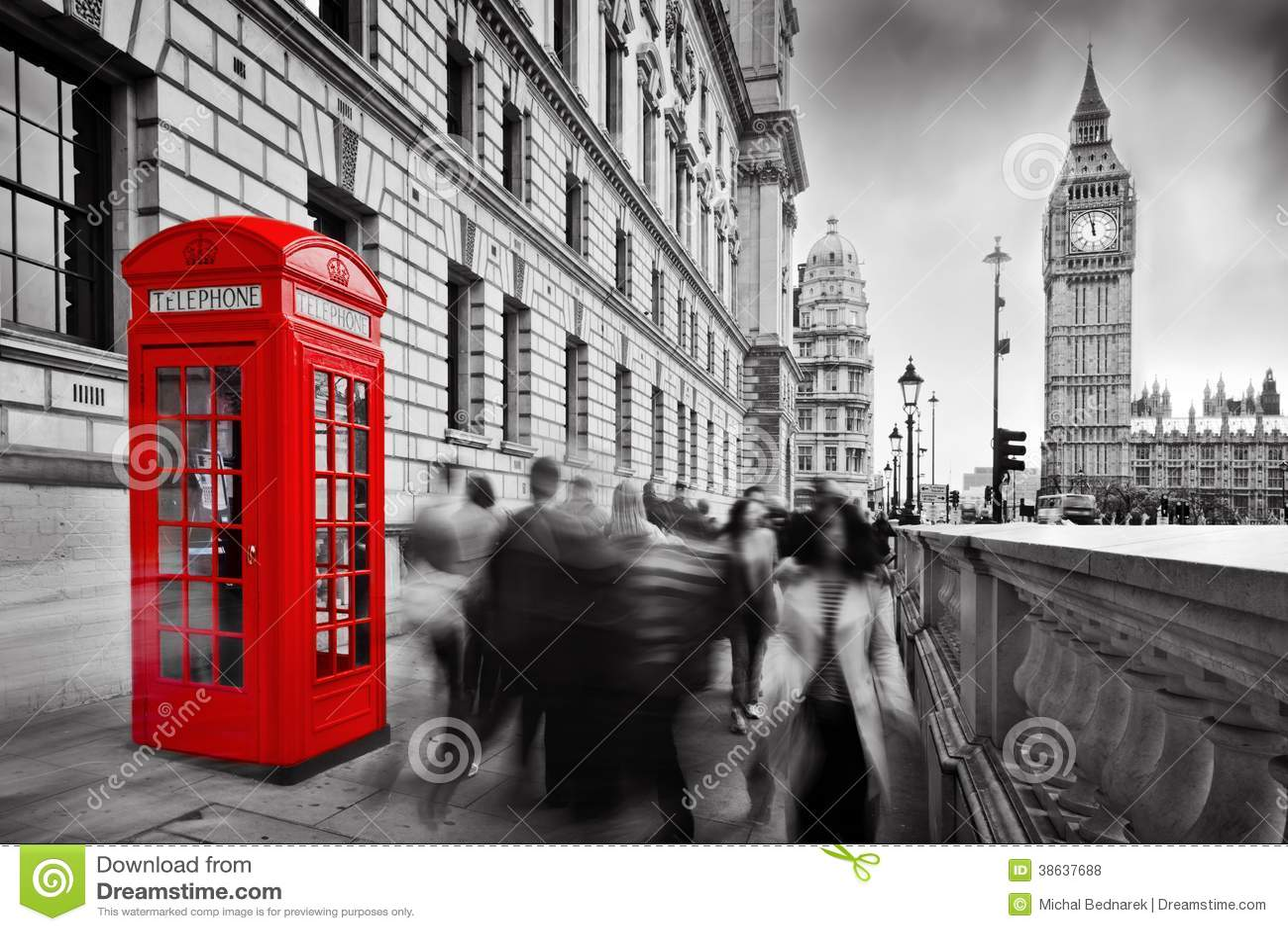 Rote Telefonzelle und Big Ben. London, Großbritannien