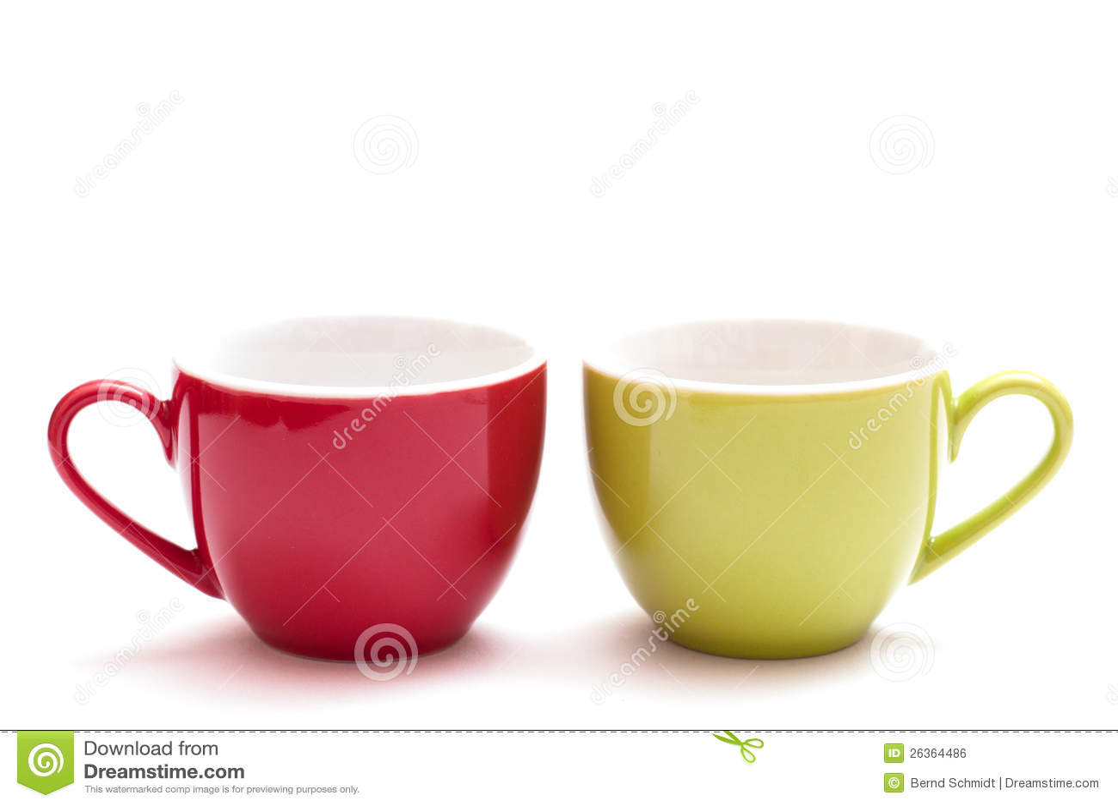 Rote und grüne Kaffeetasse
