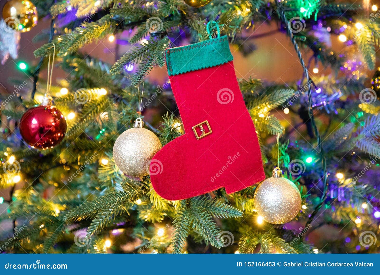 Rote und grüne Socke auf Weihnachtsbaumnahaufnahme