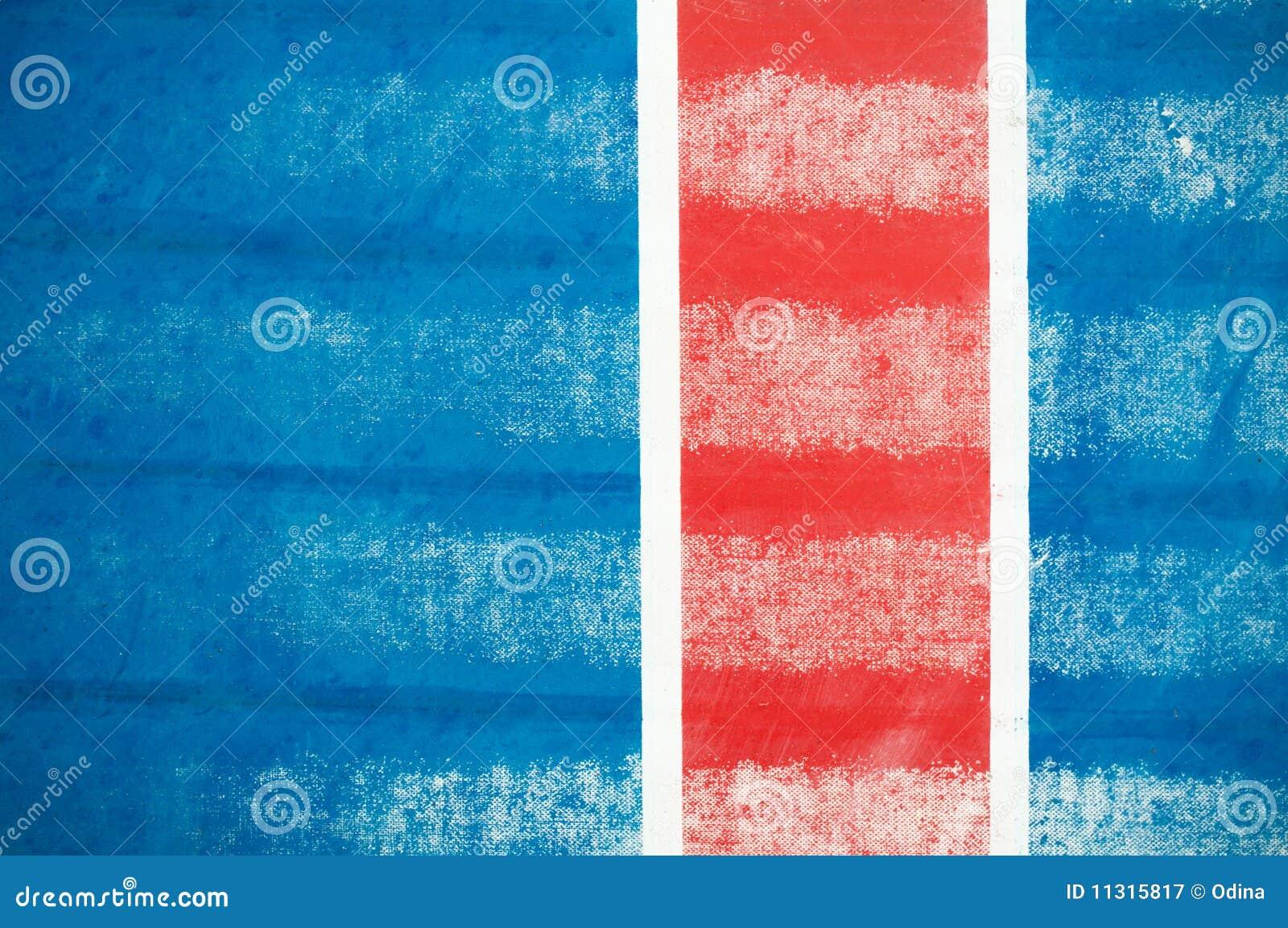 Rote vertikale Zeile auf Blau