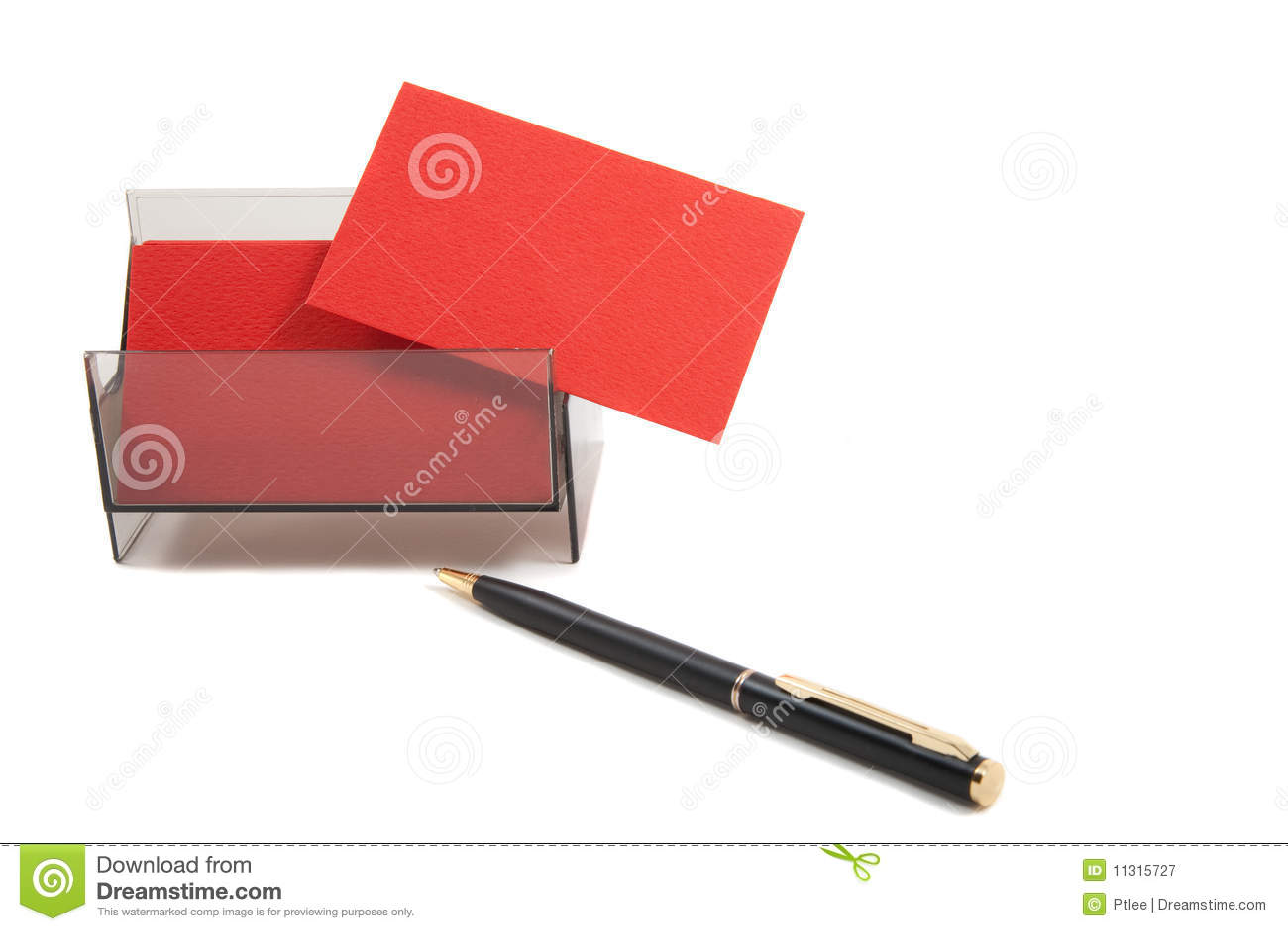 Rote Visitenkarte in einem Kasten auf weißem Hintergrund