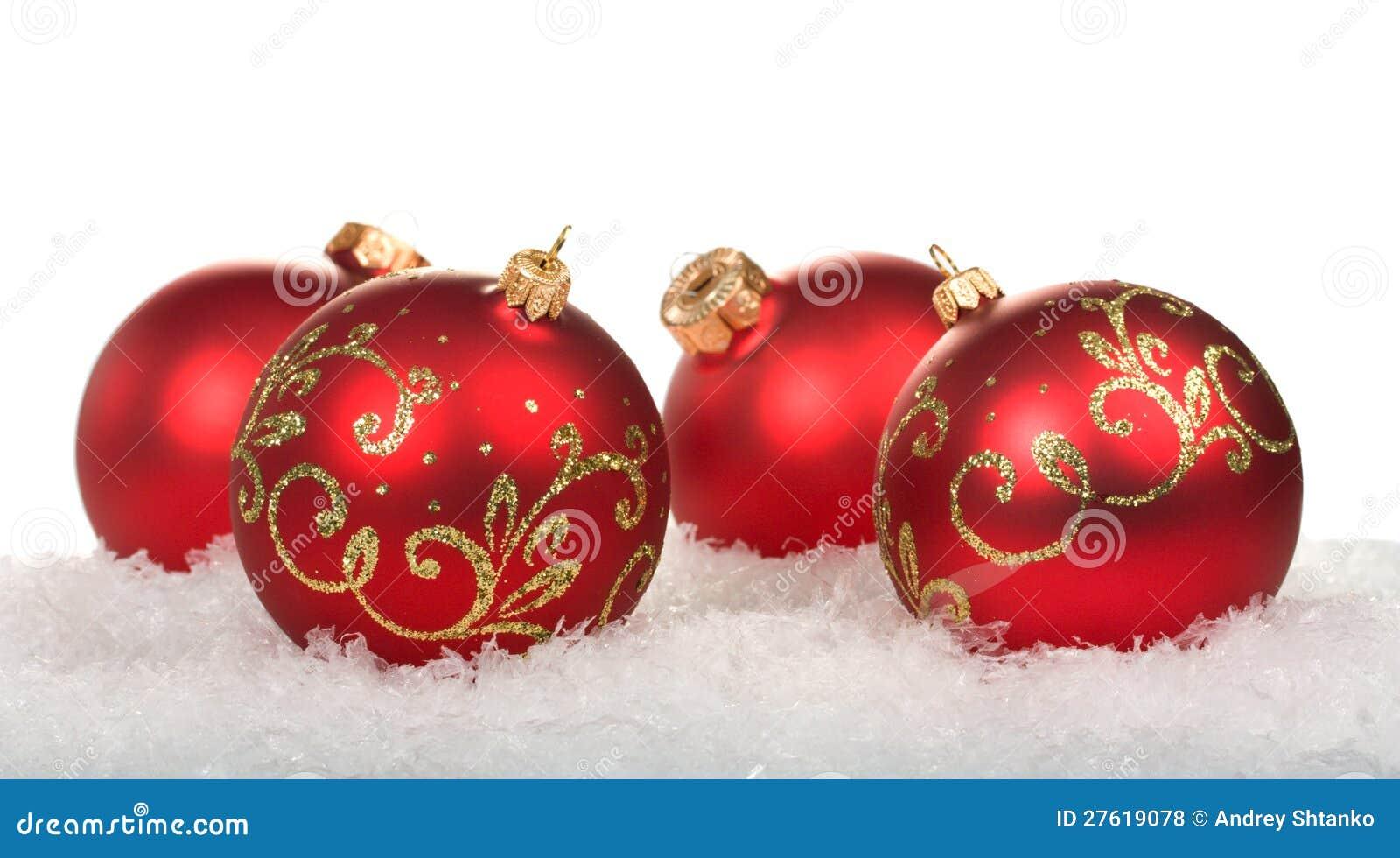 rote weihnachtskugeln mit muster lizenzfreie stockfotos bild 27619078. Black Bedroom Furniture Sets. Home Design Ideas