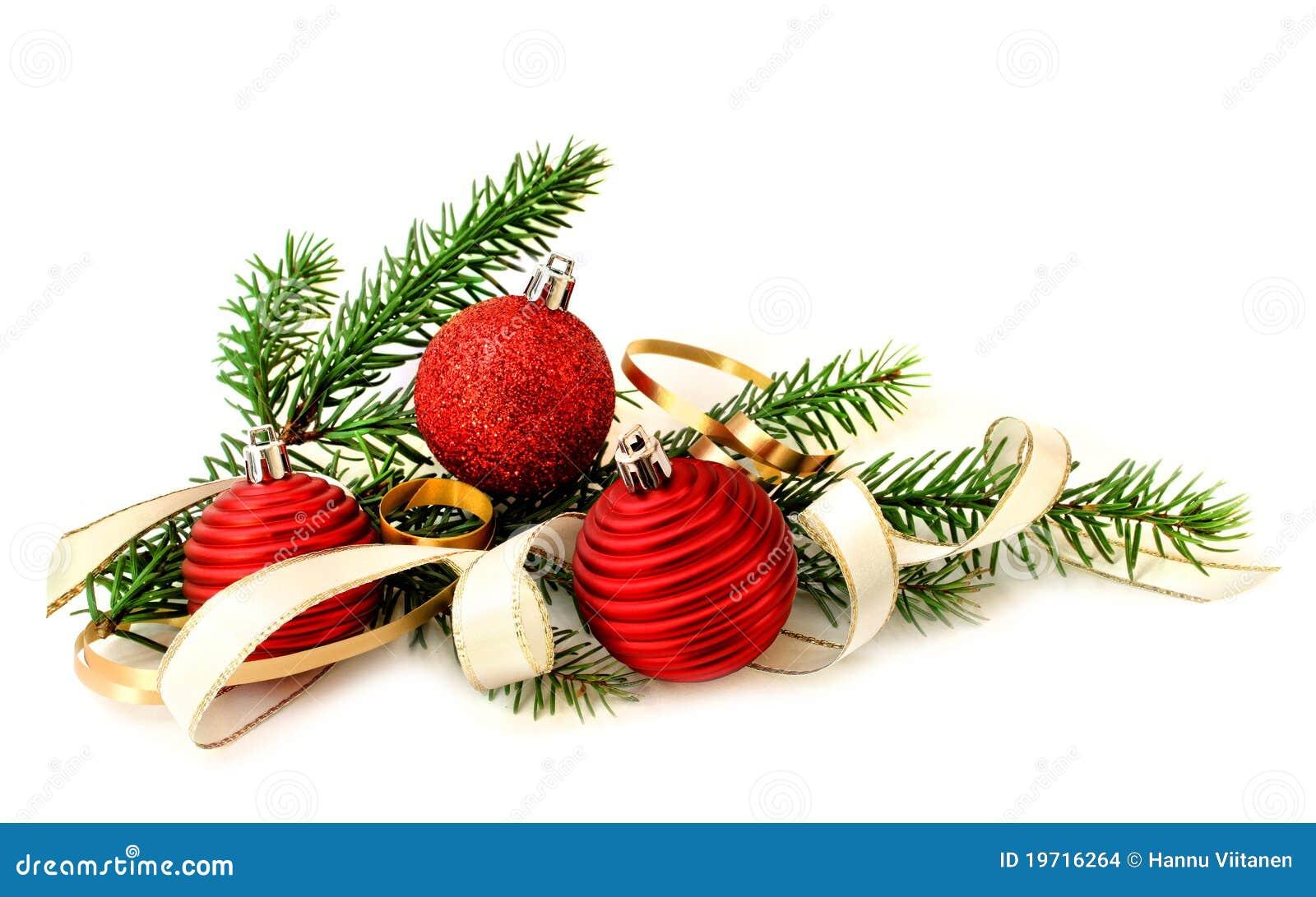 Rote weihnachtskugeln und gr ner zweig stockfoto bild for Weihnachtskugeln bilder