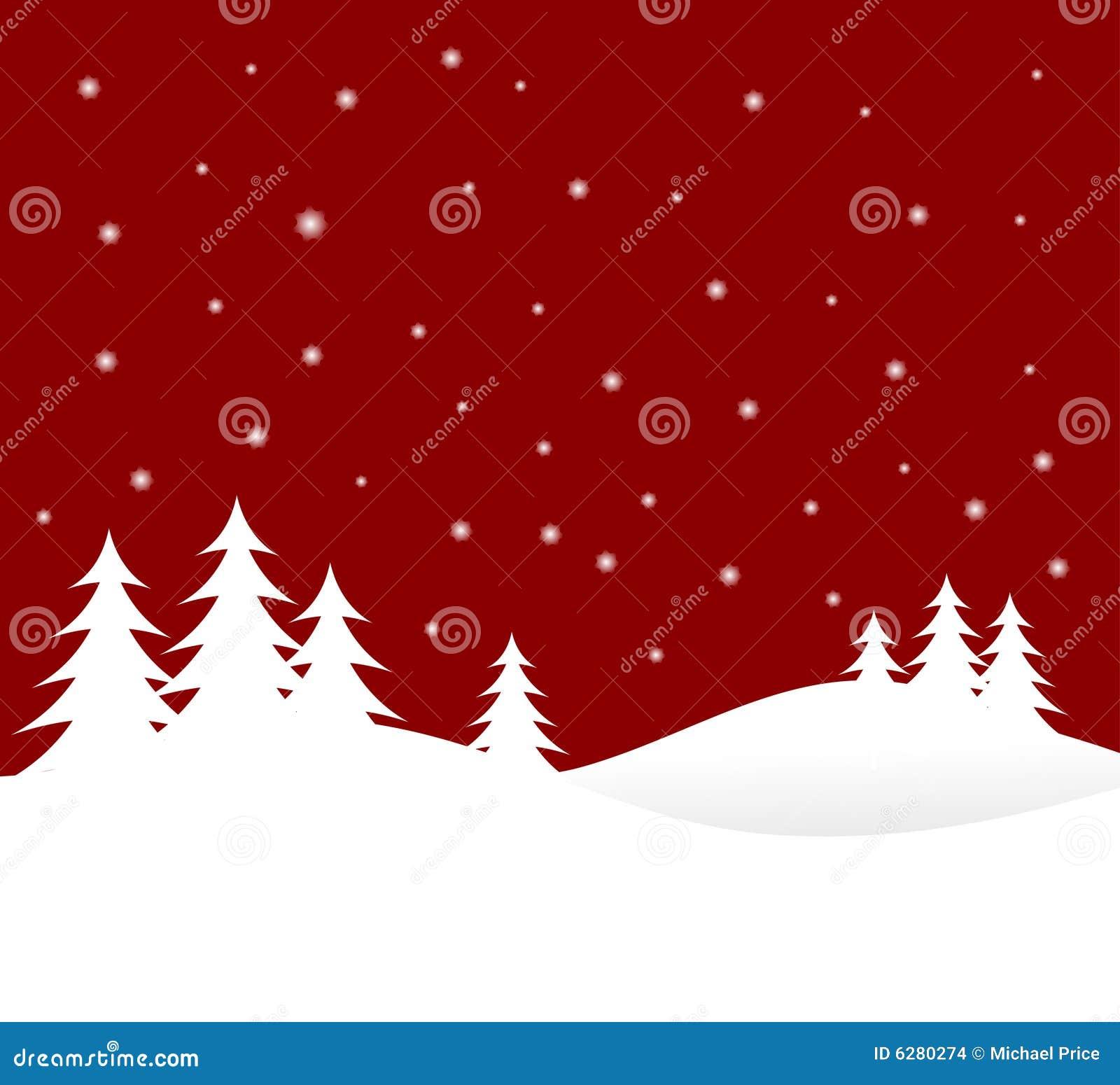 Rote Weihnachtswinter-Szene Vektor Abbildung - Illustration von ...