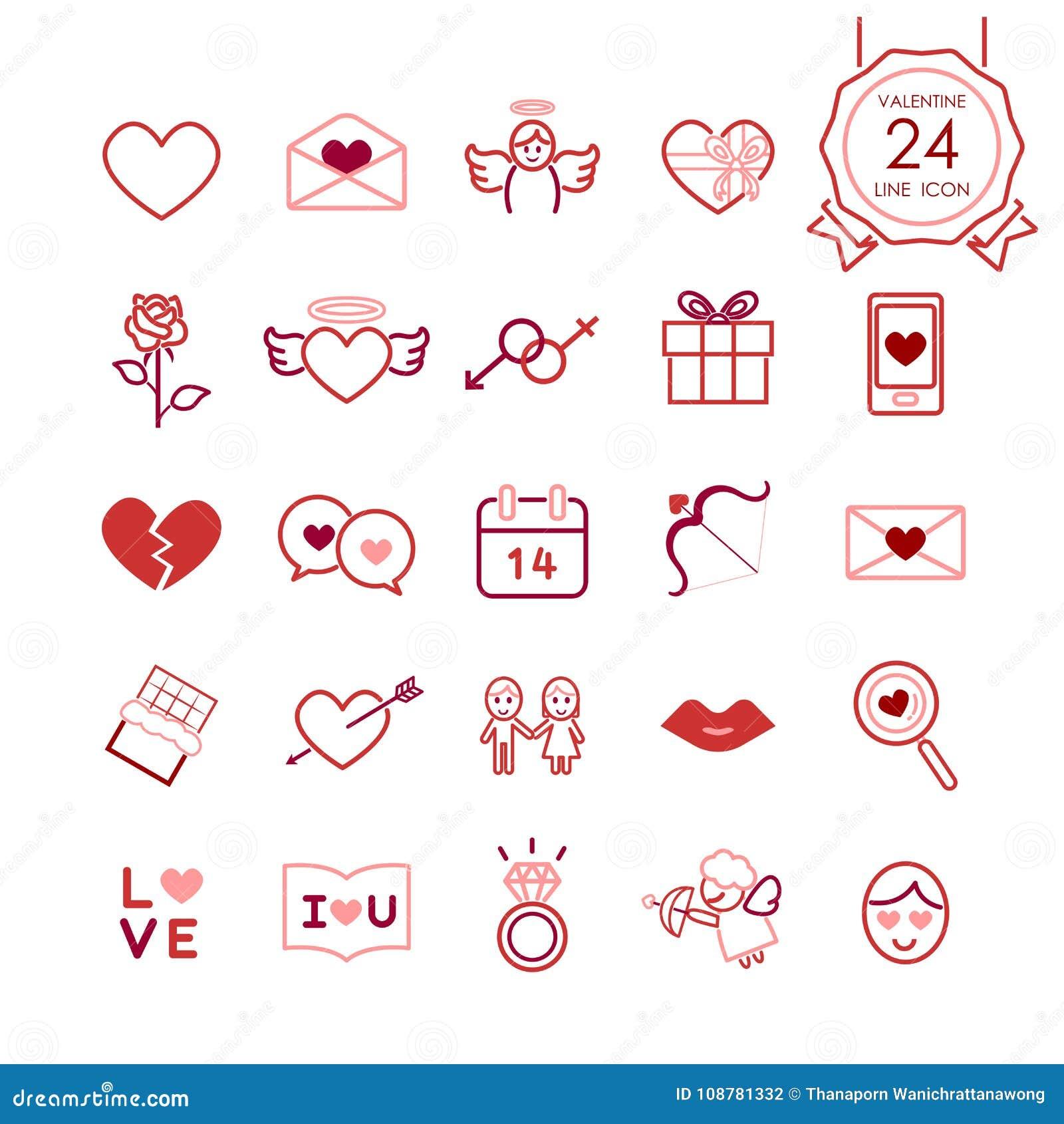Rote Zeichen und Symbollinie Ikonen stellten vom Herzen und von den romantischen Elementen für Valentinsgrußtag ein