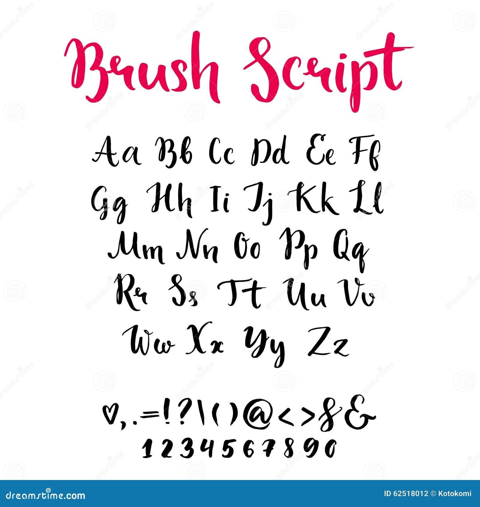 Roteiro da escova com letras lowercase e de caixa