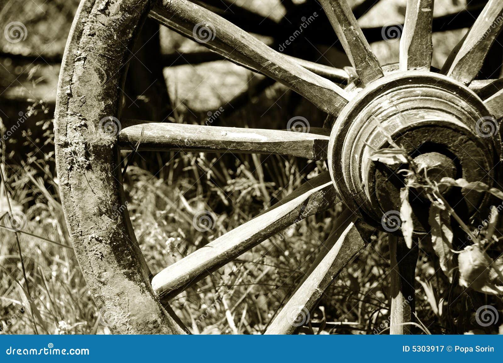 Download Rotella Del Carrello Del Cavallo Immagine Stock - Immagine di occidentale, wooden: 5303917