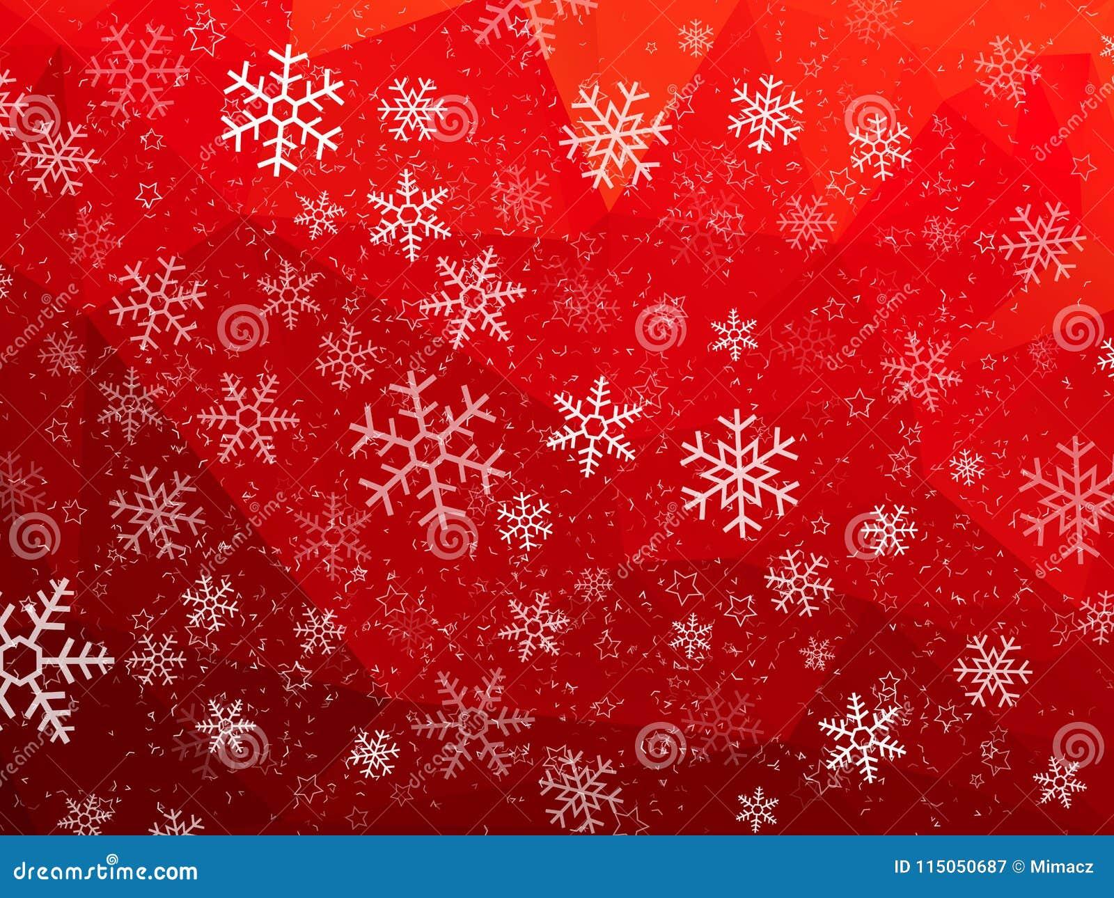 Roter abstrakter Weihnachtshintergrund mit Schneeflocken
