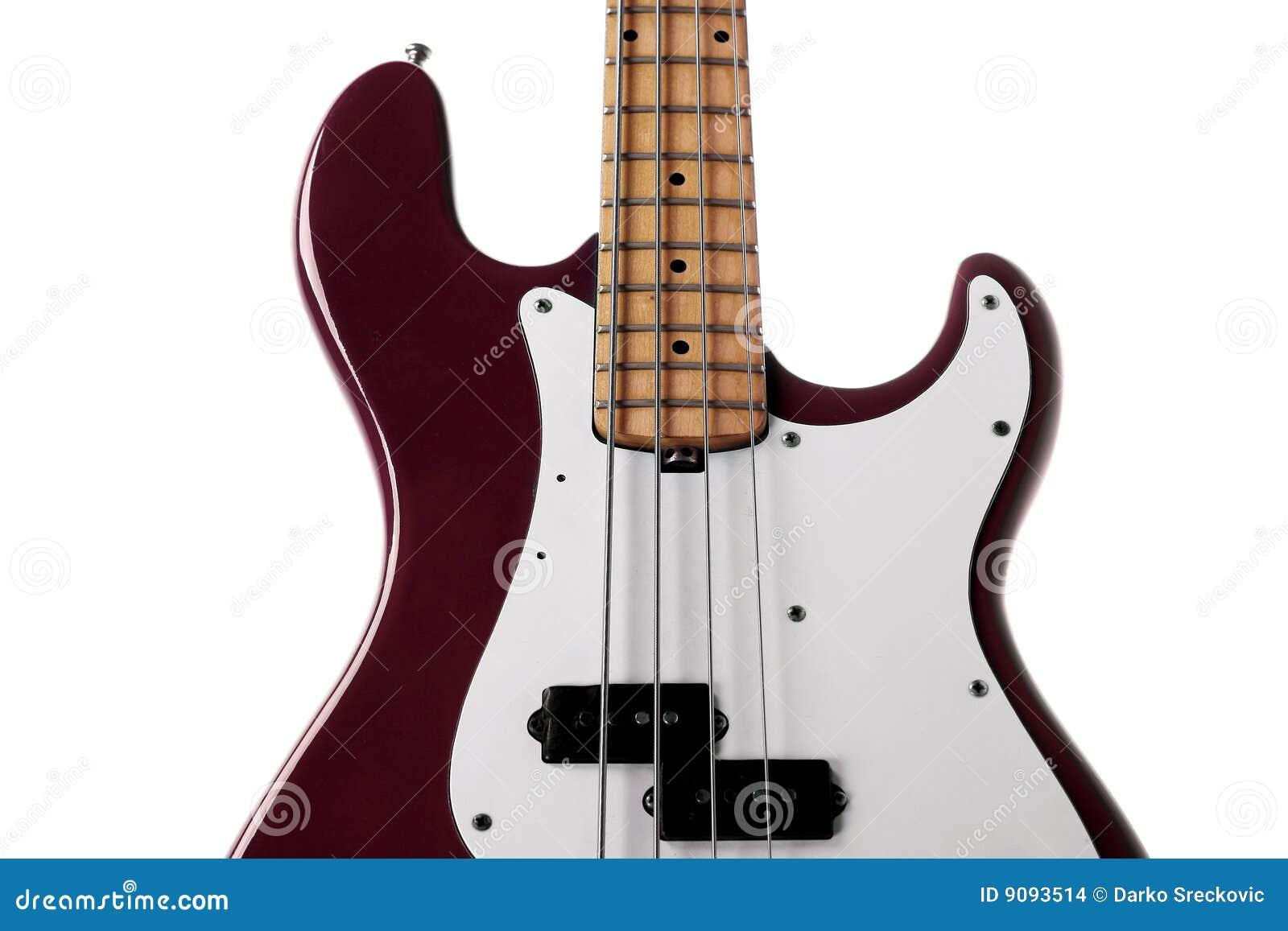 Roter Baß-Gitarrenabschluß oben