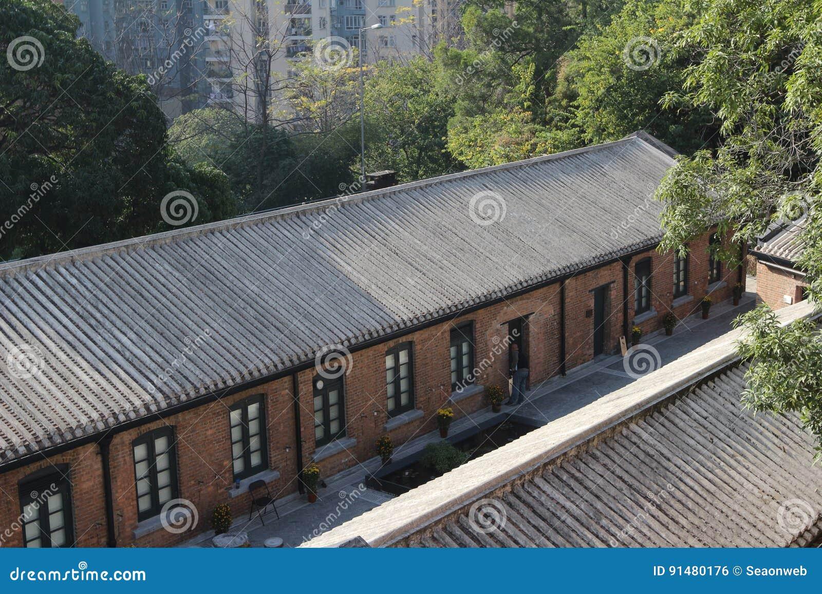 Roter Backstein errichtete Struktur in Hong Kong