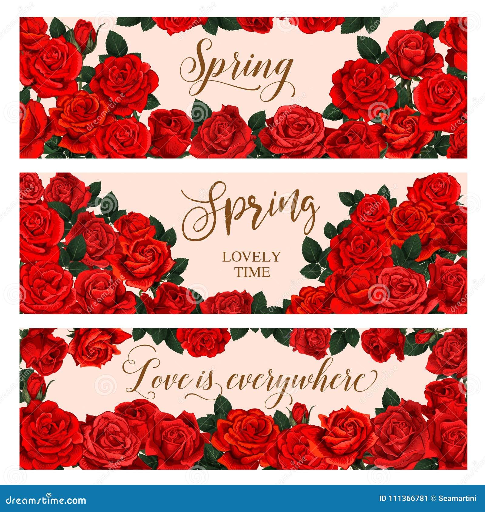Roter Blumenrahmen Der Frühlings-Saison-Grußfahne Vektor Abbildung ...