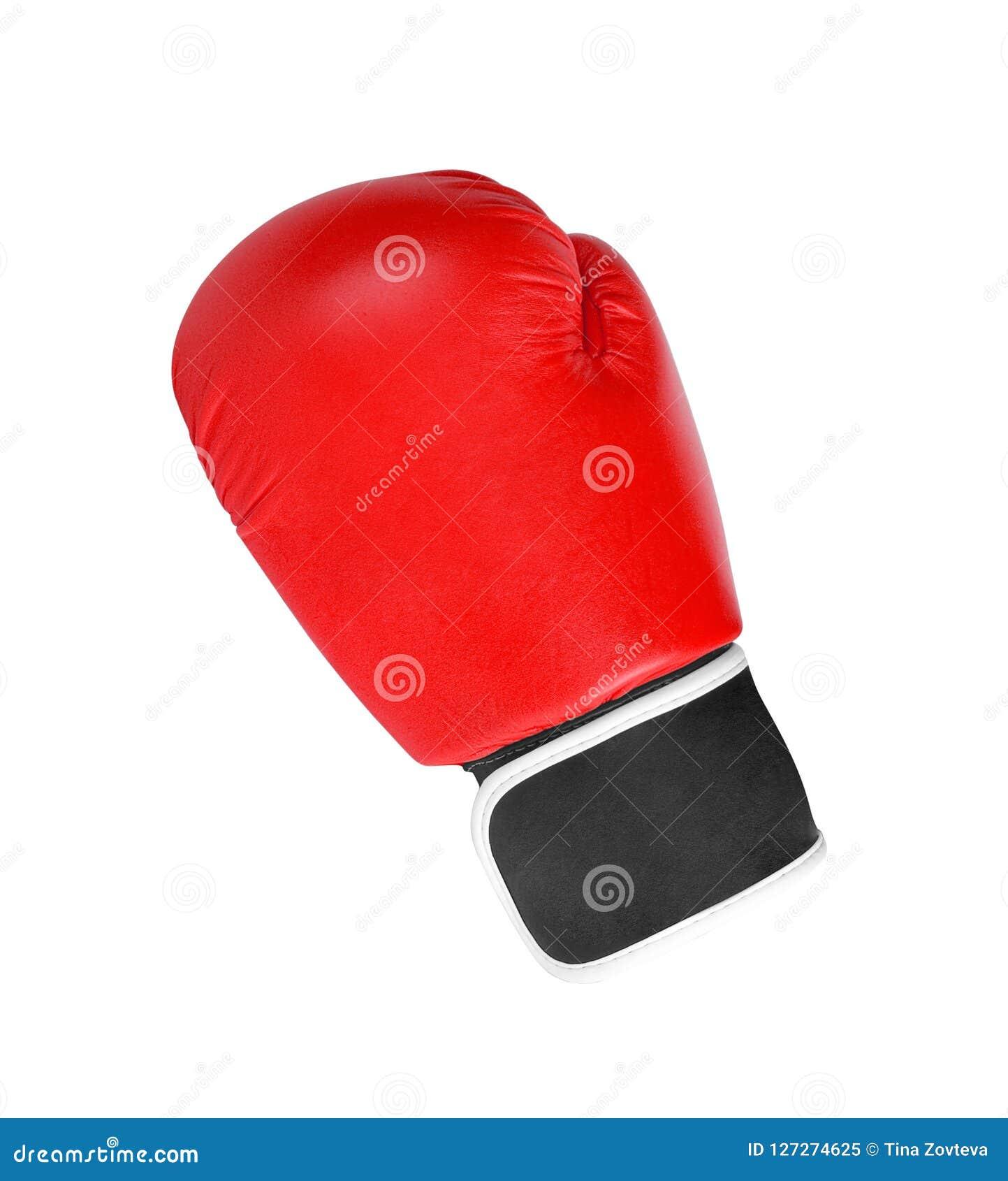 Roter Boxhandschuh lokalisiert auf Weiß