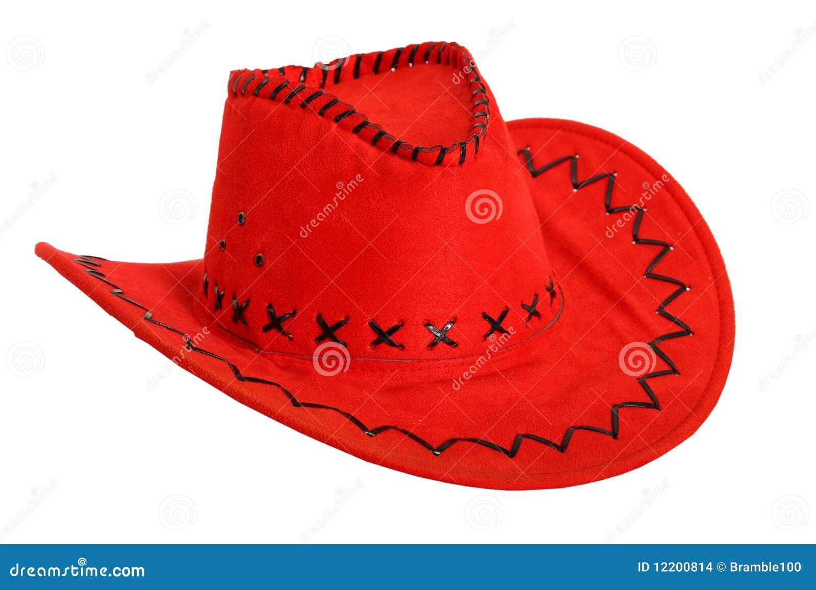Roter Cowboyhut getrennt auf Weiß