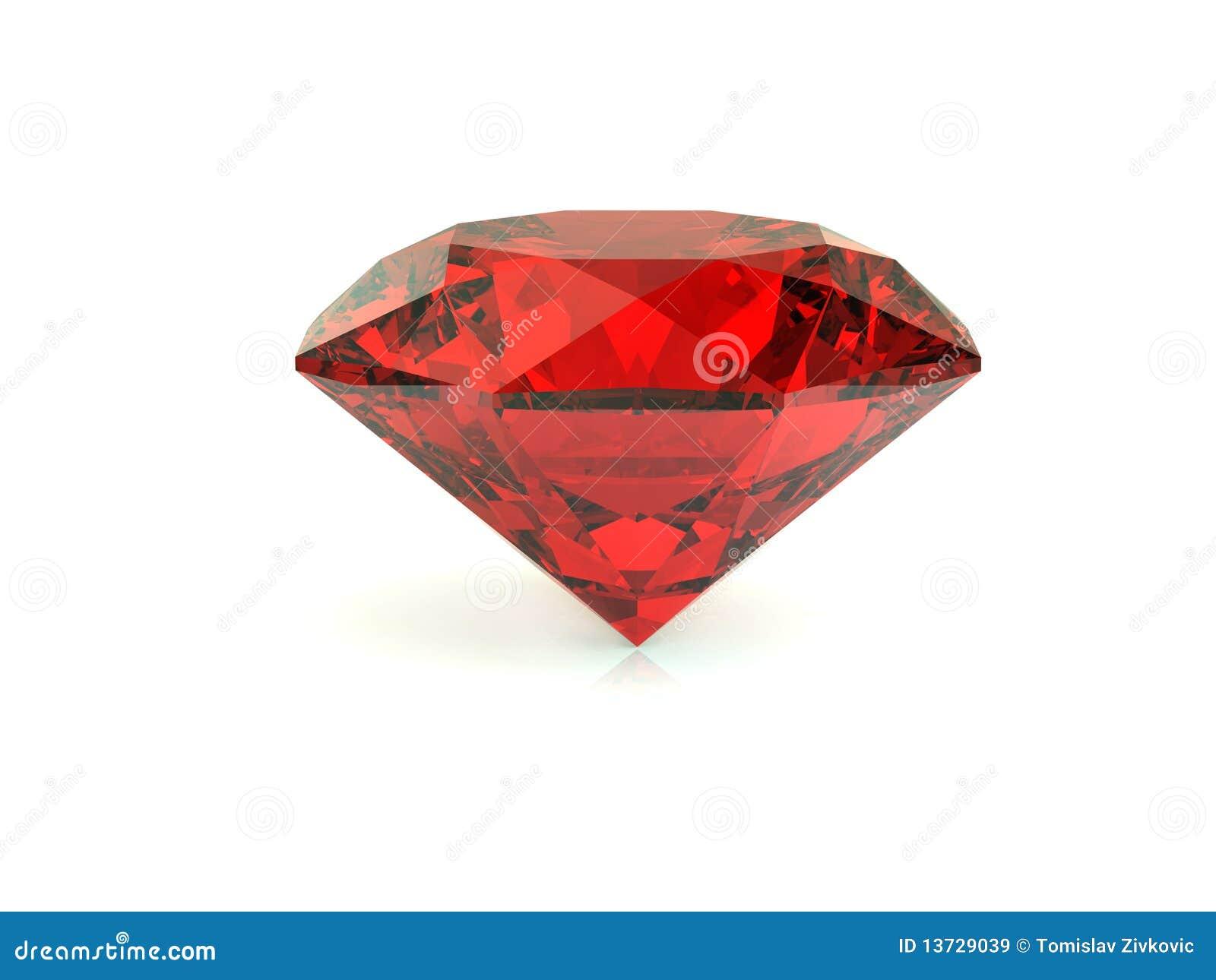 Roter Diamant Auf Weißem Hintergrund Stock Abbildung - Illustration ...