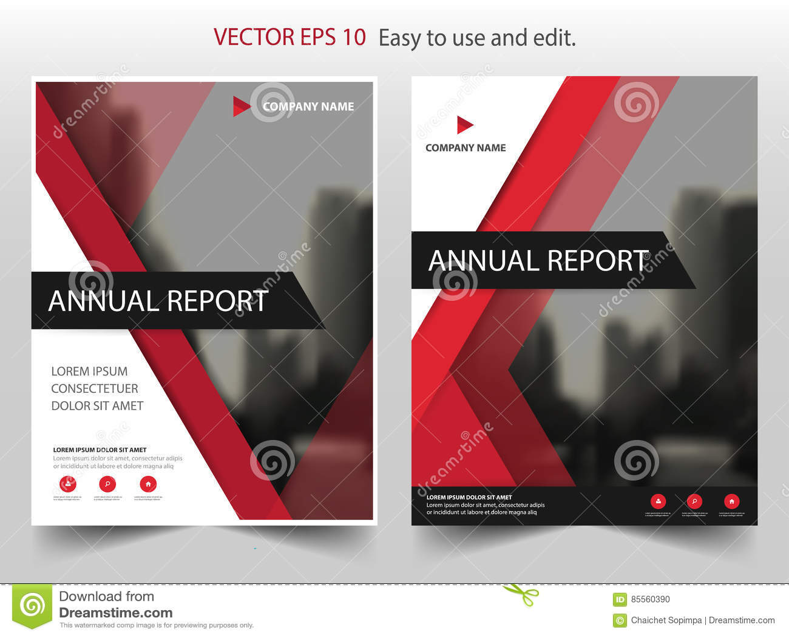 Roter Dreieck Vektor-Broschürenjahresbericht Broschüren-Flieger