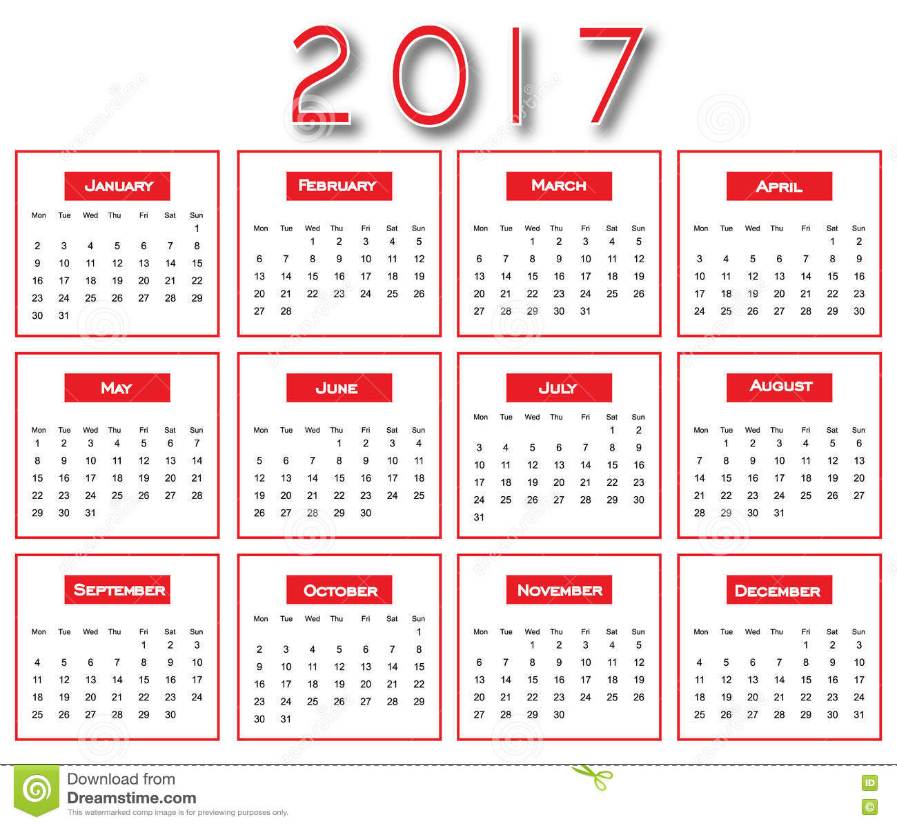 Roter einfacher 2017 kalender design des kalender 2017 for Kalender design