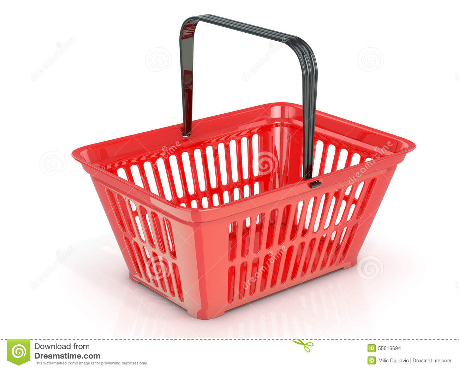 Roter Einkaufskorb, Seitenansicht