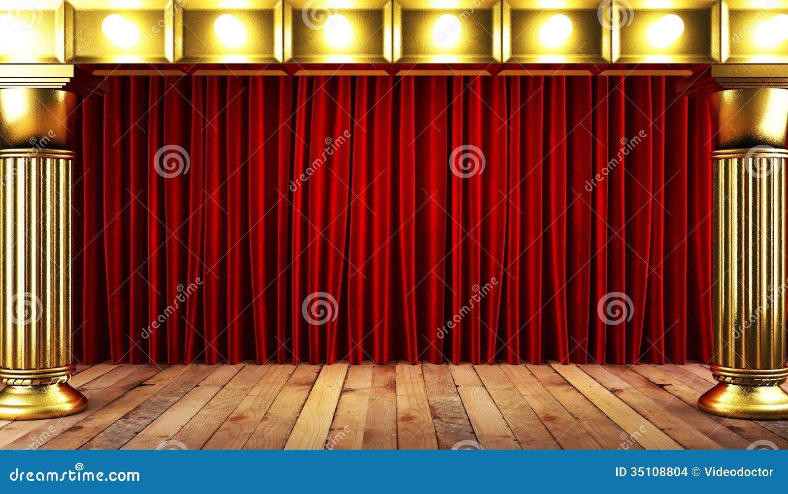 roter fabrick vorhang mit gold stockbilder bild 35108804. Black Bedroom Furniture Sets. Home Design Ideas