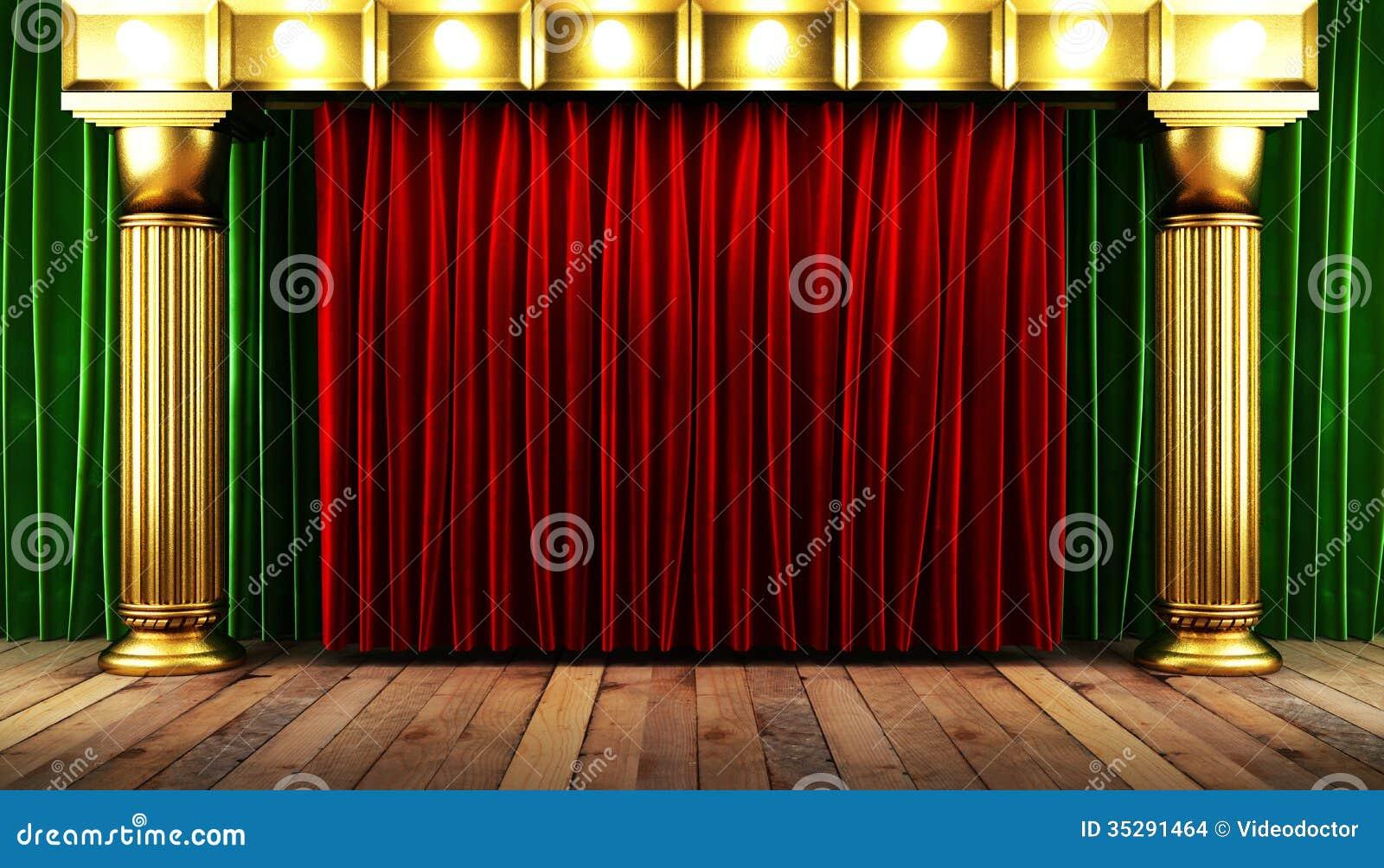 roter fabrick vorhang mit gold stockbilder bild 35291464. Black Bedroom Furniture Sets. Home Design Ideas